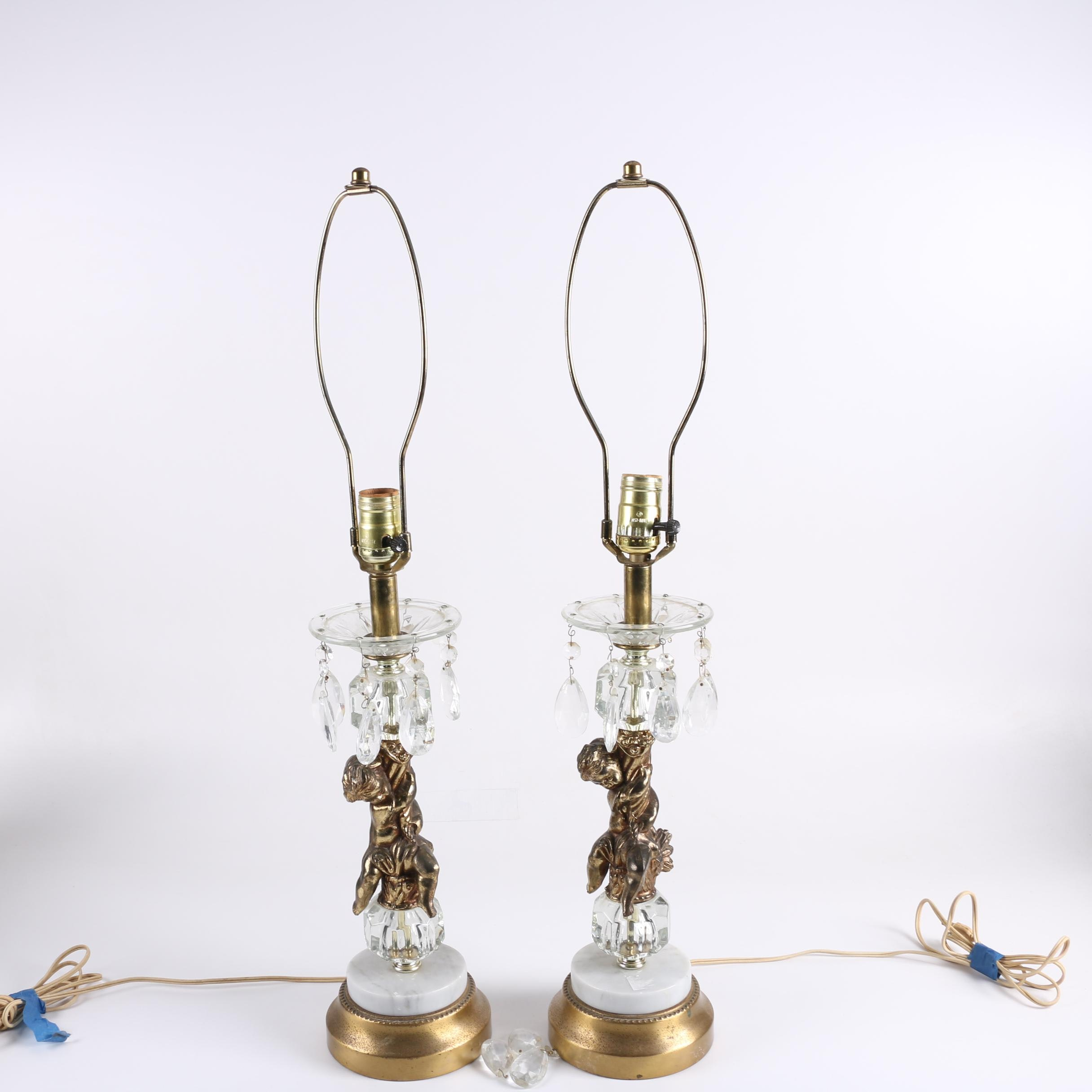 Pair of Vintage Candlestick Style Table Lamps with Ormolu Cherubs and Prisms