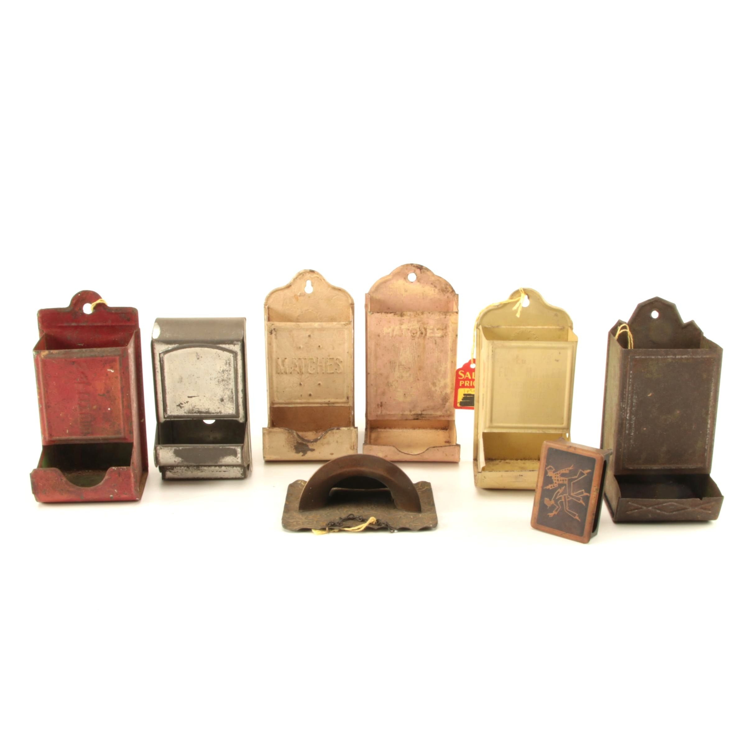 Vintage Metal Match Holders, Wall Pocket and Matchbox