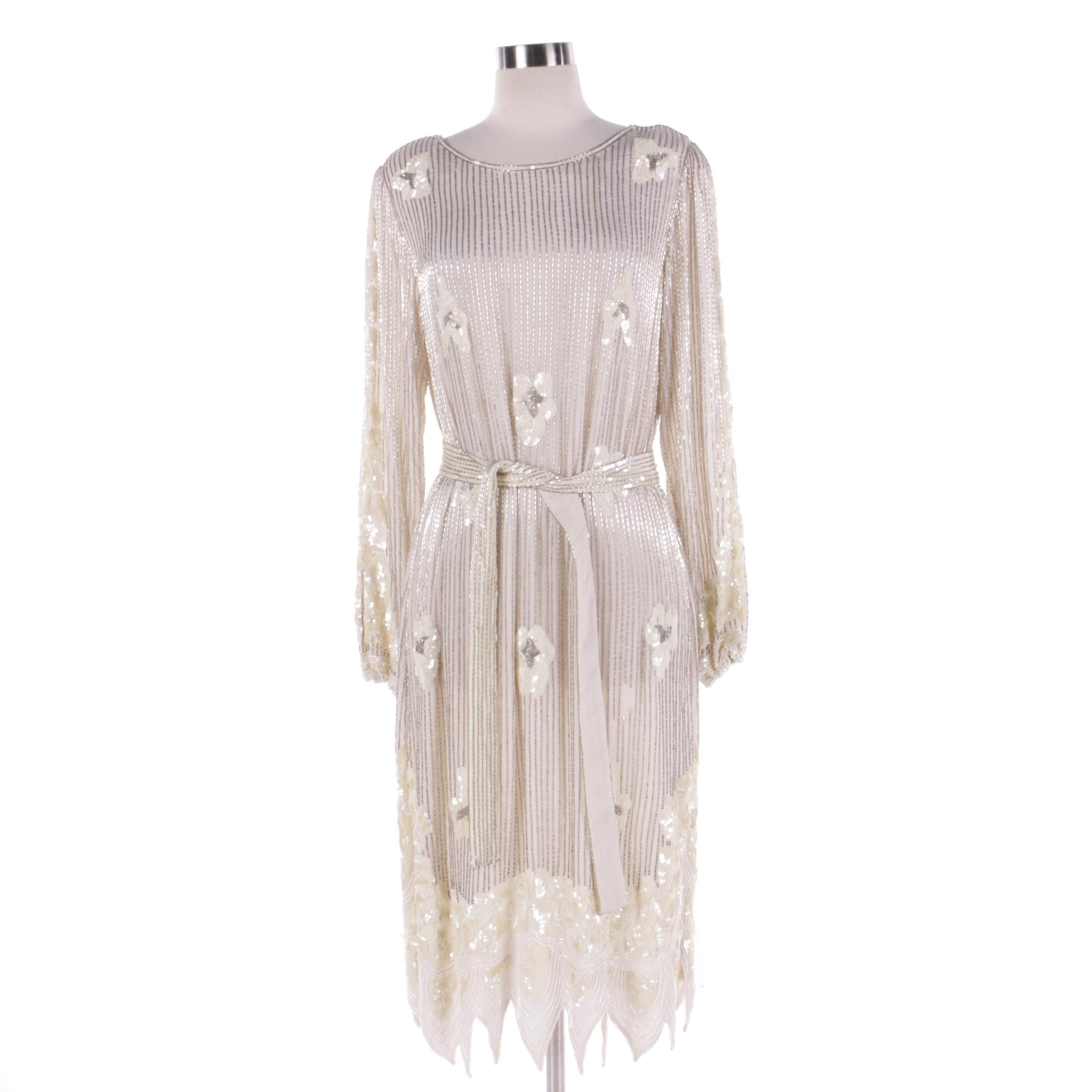 Vintage Embellished Beaded Silk Dress with Matching Sash