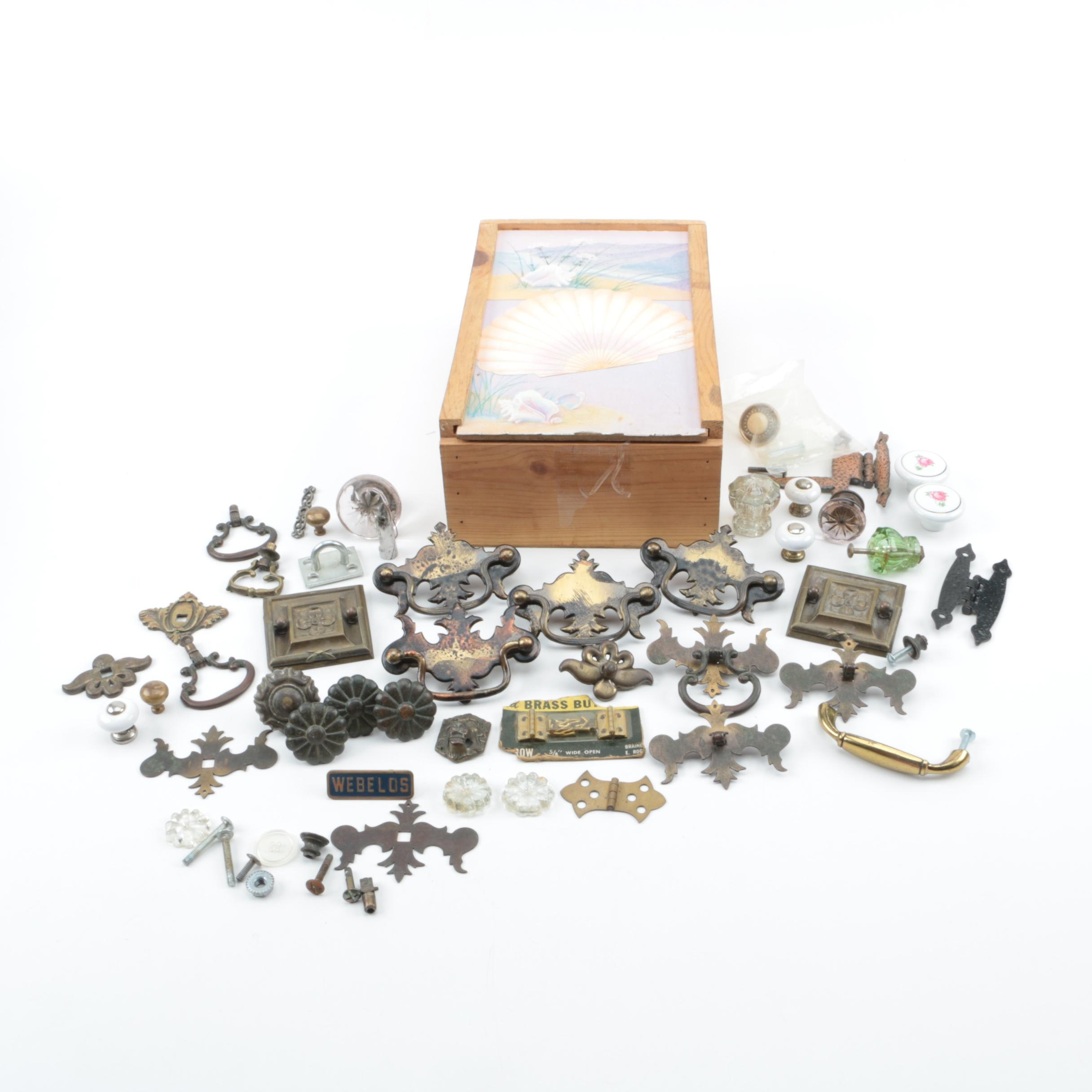 Wooden Box of Drawer Pulls, Knobs and Decorative Hardware