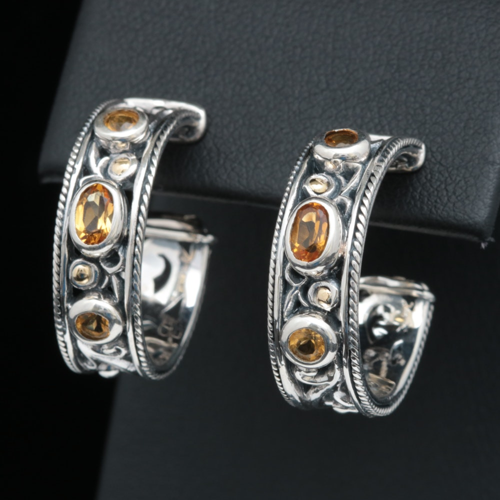 Robert Manse Sterling Silver, 18K Yellow Gold and Citrine Hoop Earrings