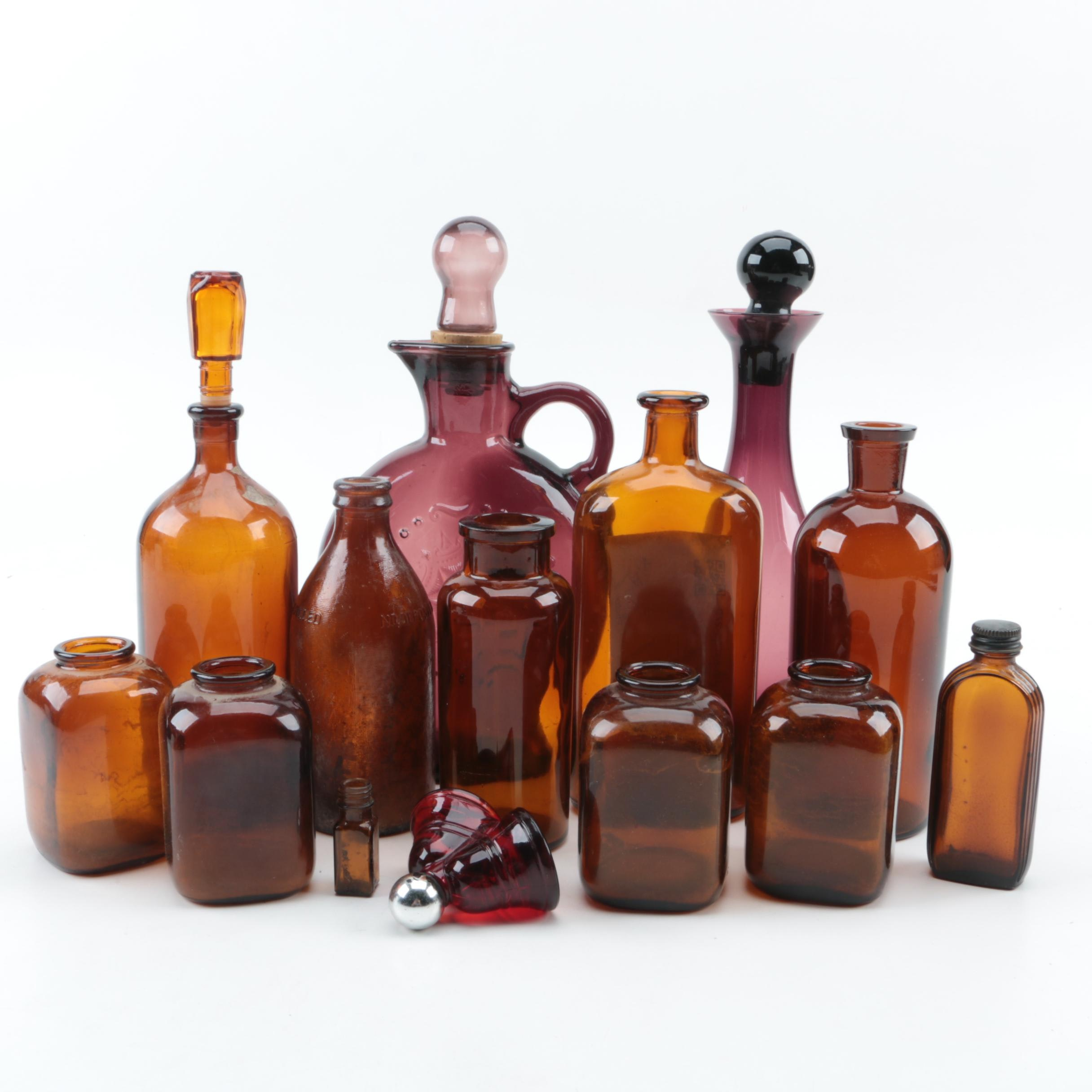 Brown Glass Medicine Bottles and Decanters
