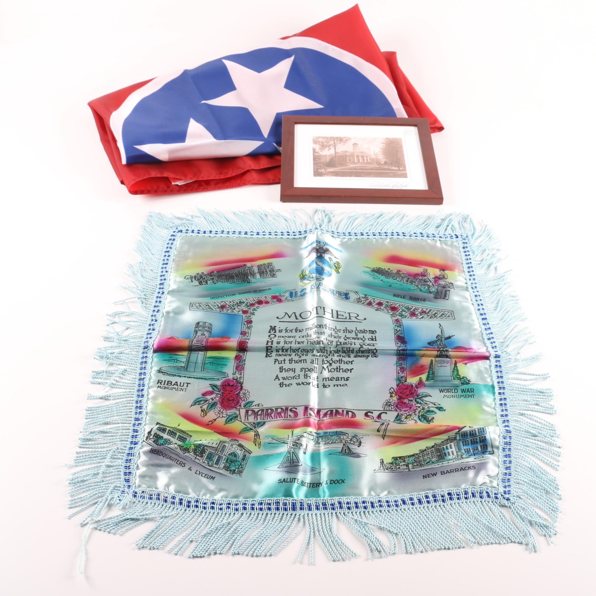 US Marines Mother Poem Pillowcase with Courthouse Print and Tennessee Flag