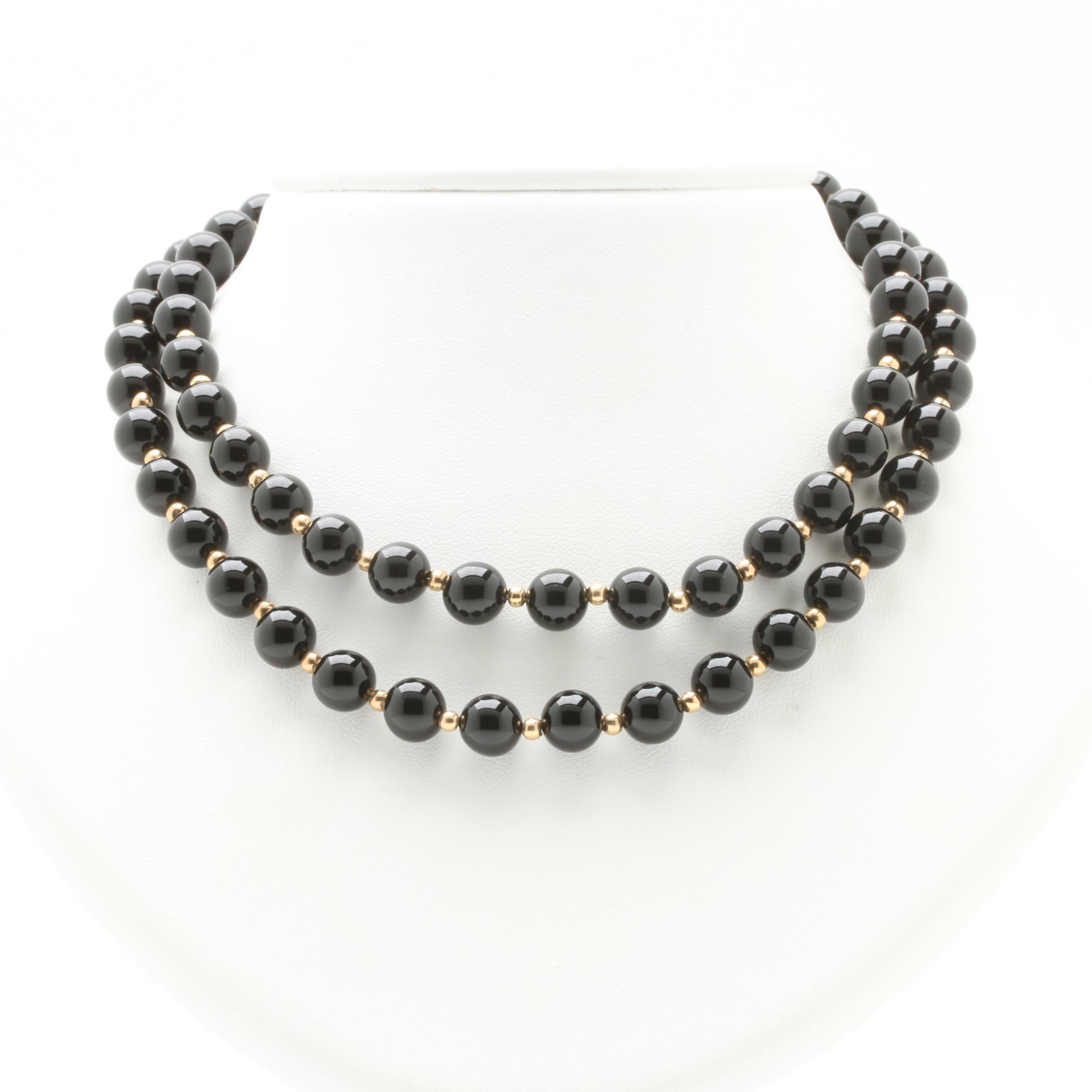 14K Yellow Gold Black Onyx Beaded Strand Necklace