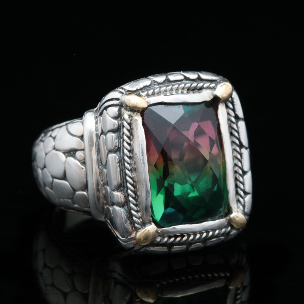 Robert Manse Sterling Silver, 18K Yellow Gold and Coated Quartz Ring