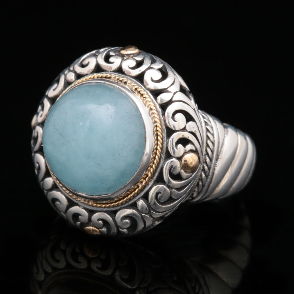 Robert Manse Sterling Silver, 18K Yellow Gold and Milky Aquamarine Cabochon Ring
