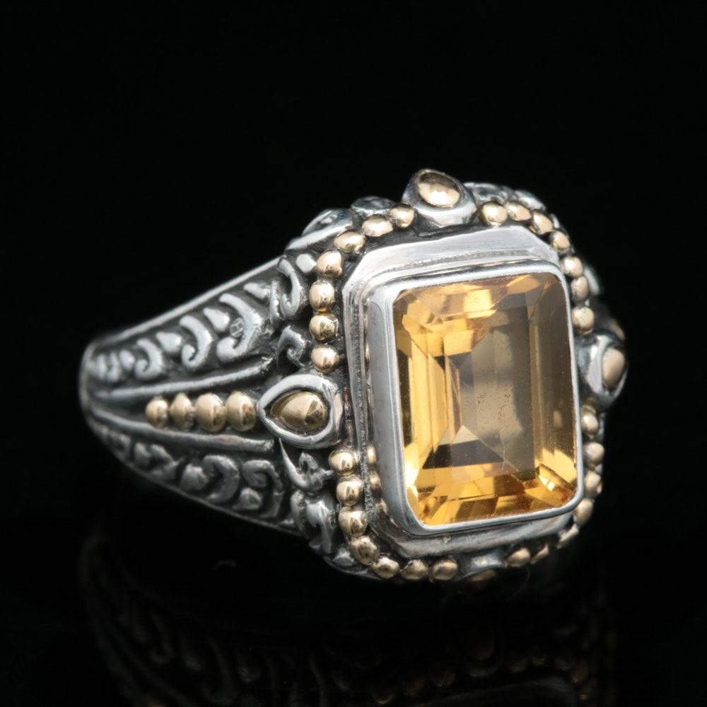 Robert Manse Sterling Silver, 18K Yellow Gold and Citrine Ring