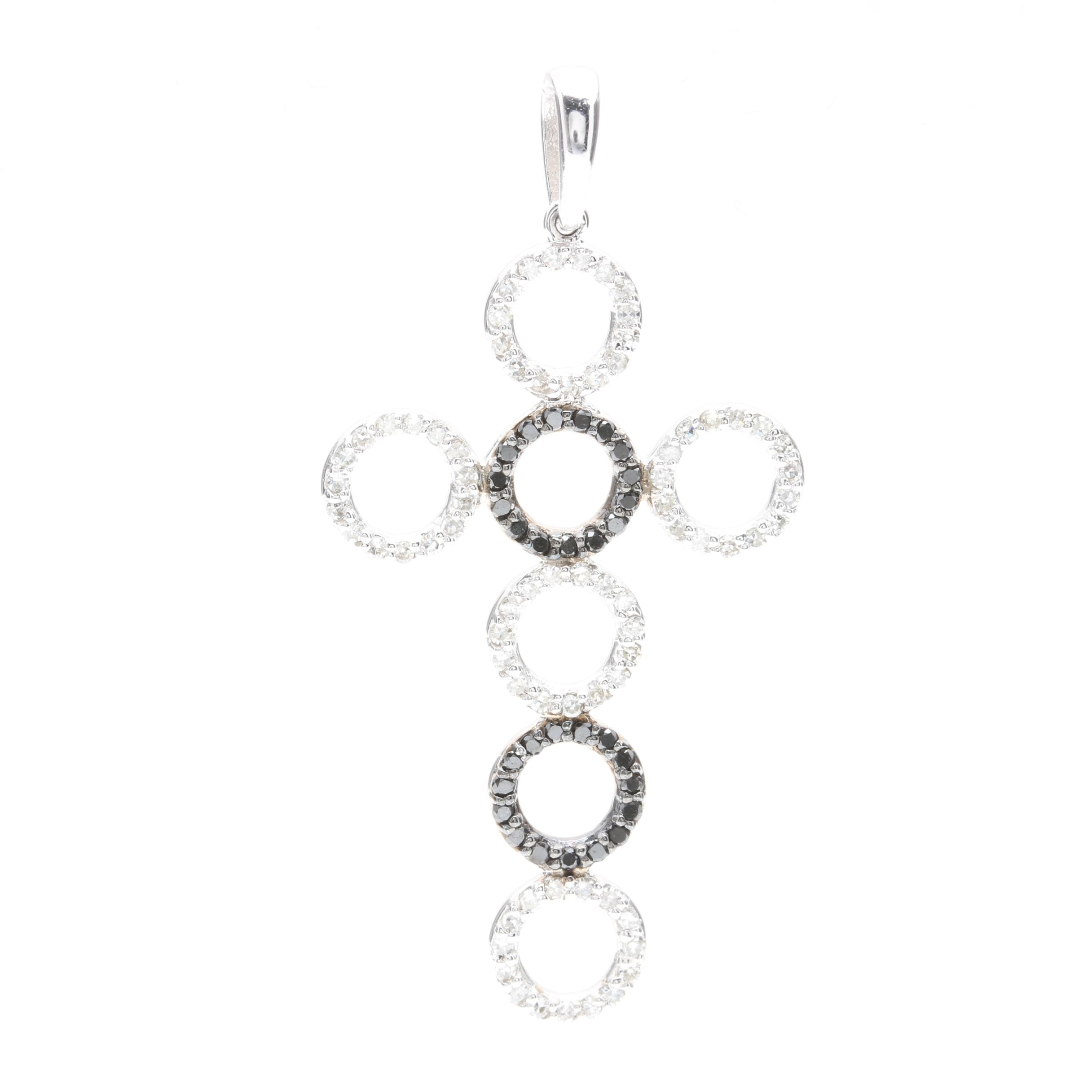 Effy 14K White Gold Diamond and Black Diamond Cross Pendant