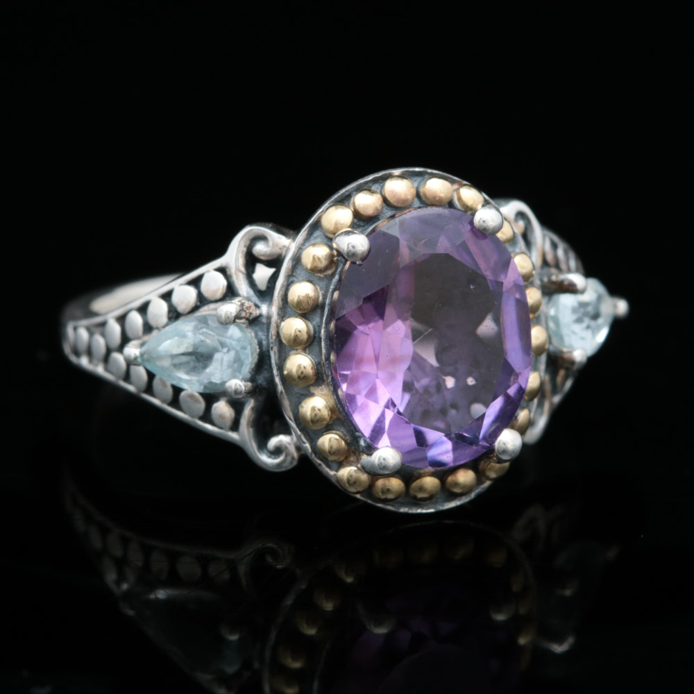Robert Manse Sterling Silver, 18K Yellow Gold, Amethyst and Blue Topaz Ring