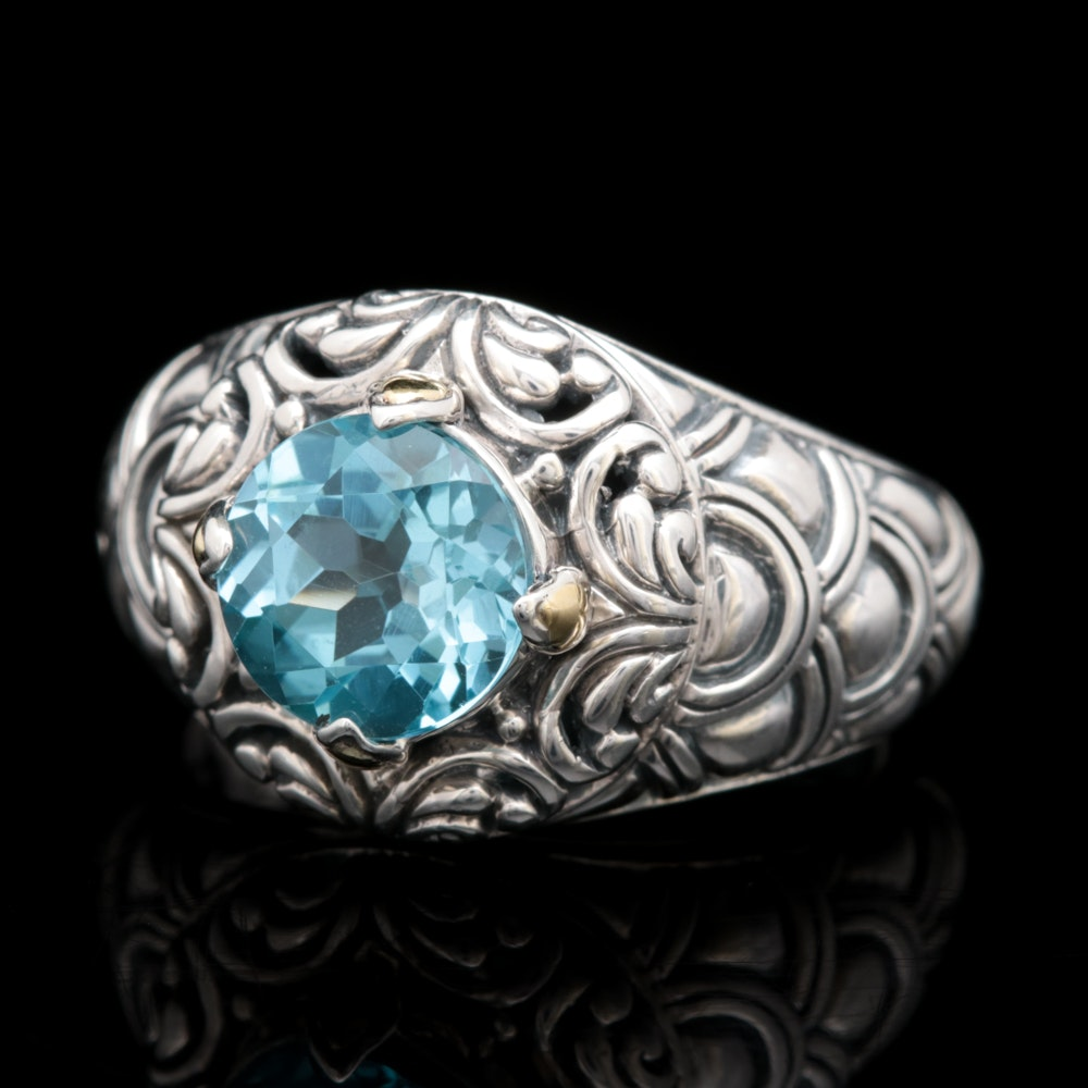 Robert Manse Sterling Silver, 18K Yellow Gold and Blue Topaz Ring