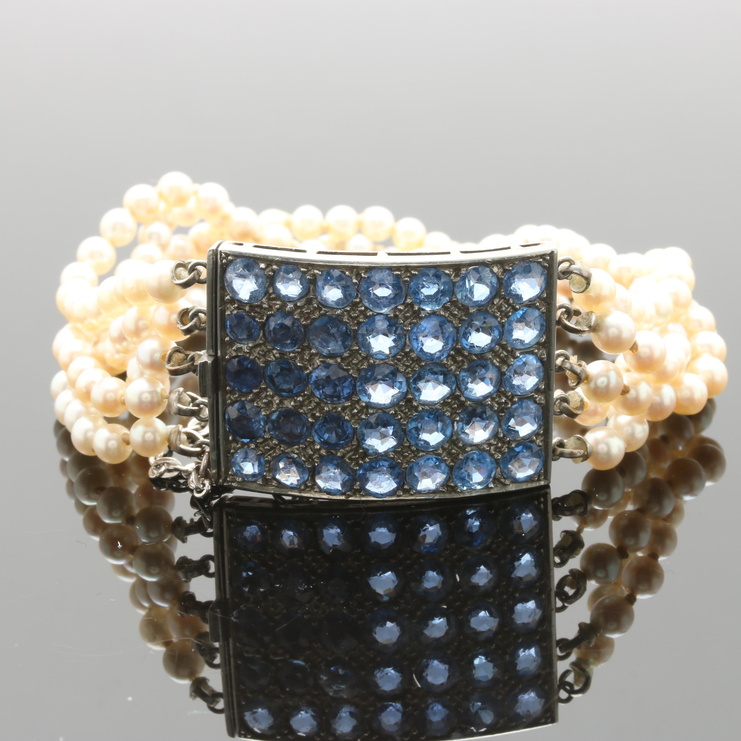 Cultured Pearl and Synthetic Sapphire Multi Strand Bracelet