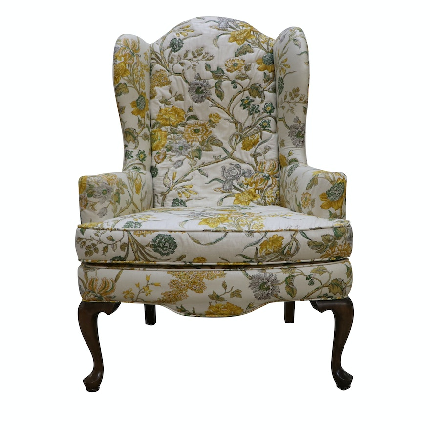 - Vintage Queen Anne Style Upholstered Wingback Chair By Ethan Allen