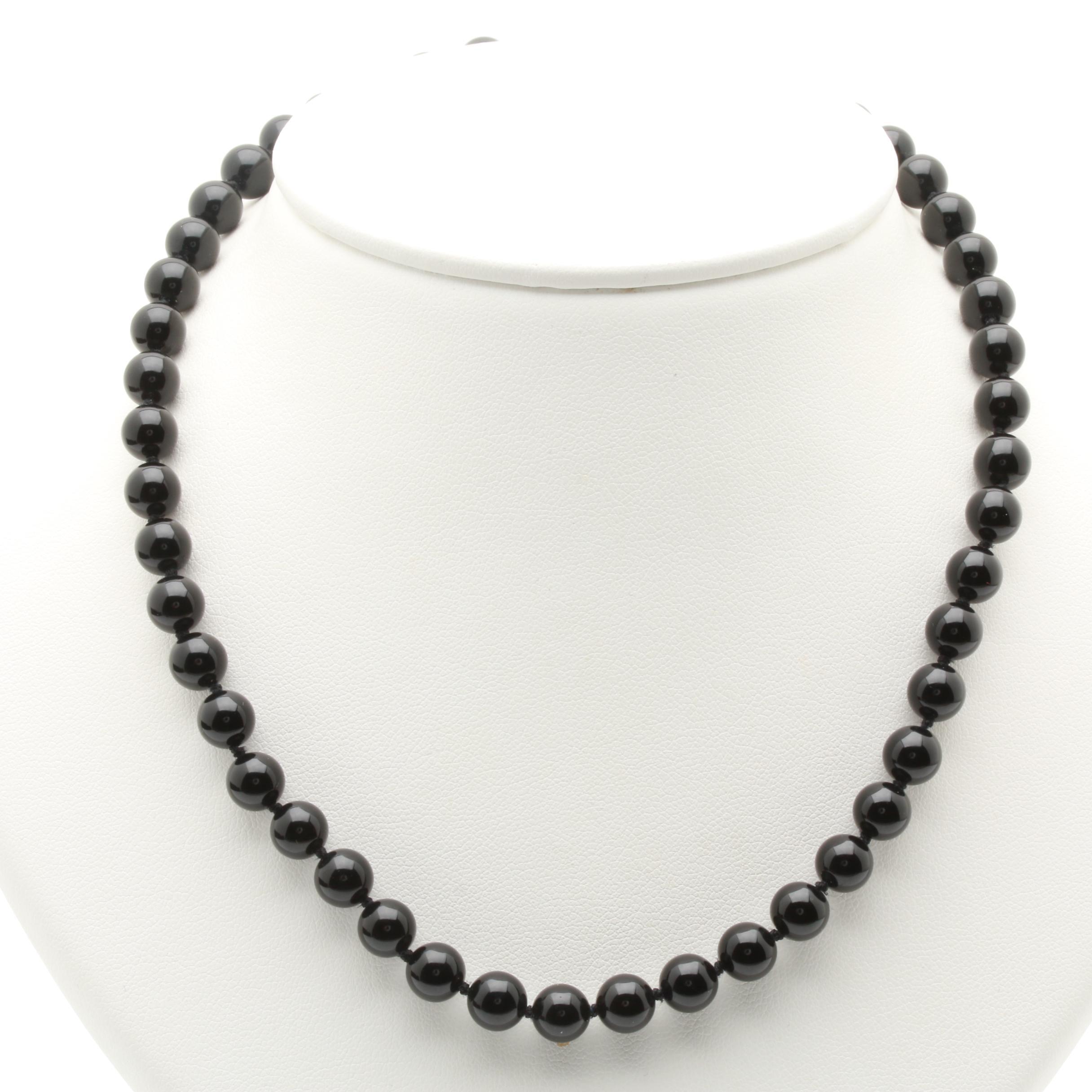 14K Yellow Gold Black Onyx Beaded Necklace