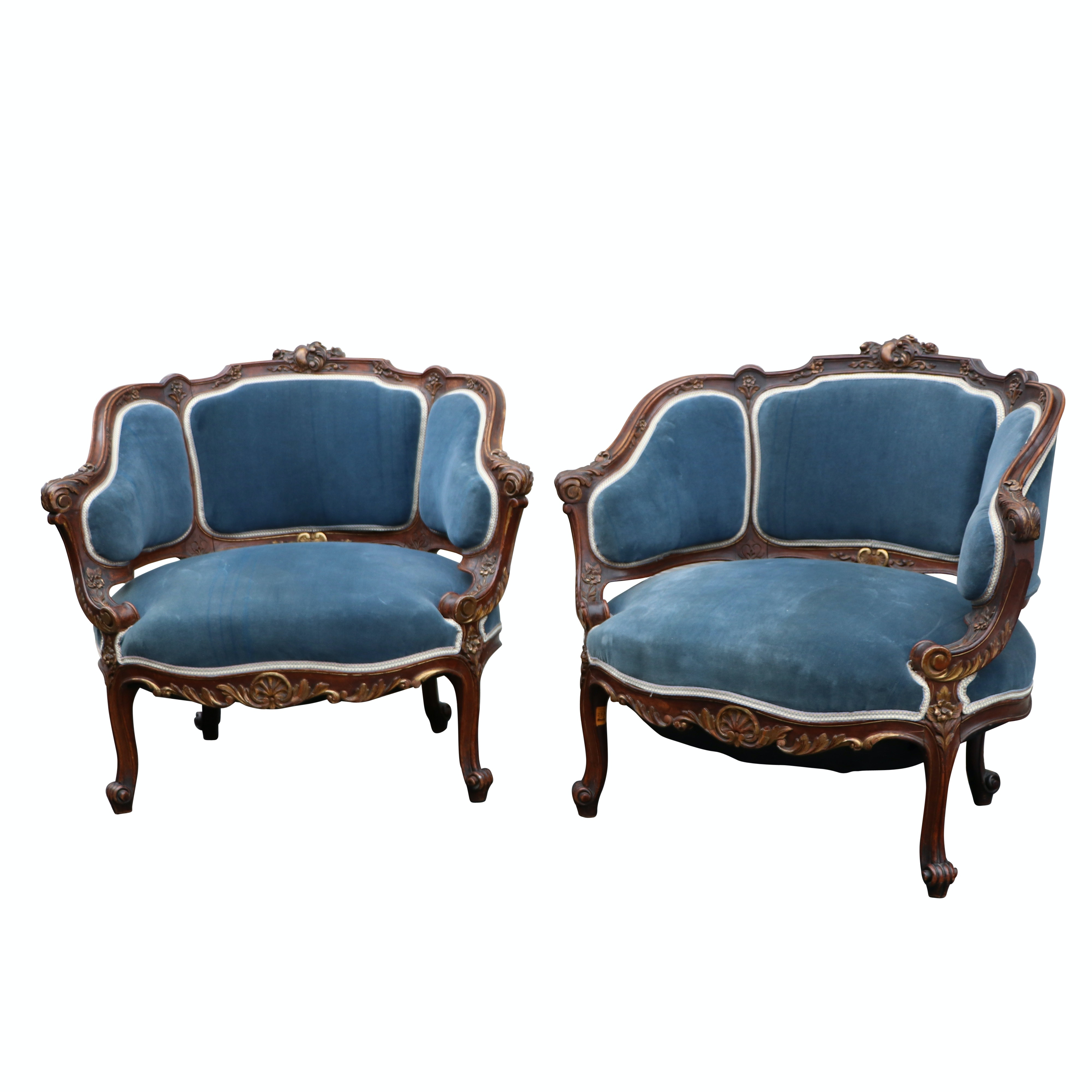 Matching Pair of Vintage French Rococo Style Armchairs