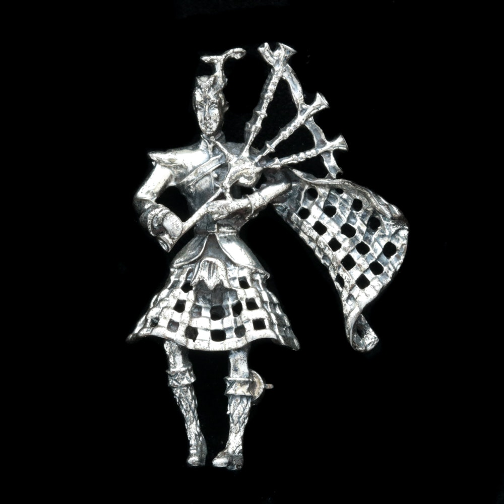 Danecraft Sterling Silver Bagpiper Brooch
