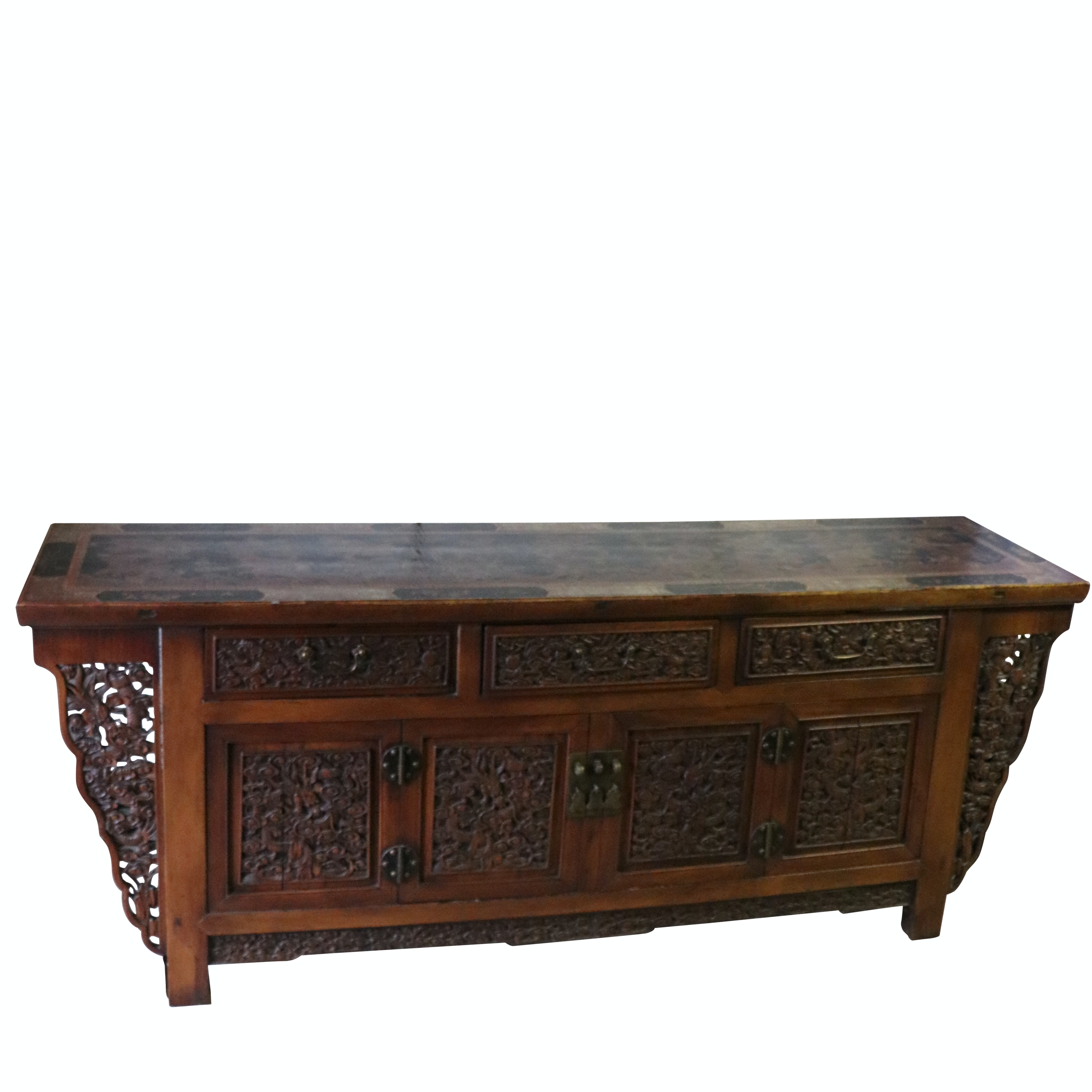 Chinese Vintage Carved and Hand-Painted Credenza