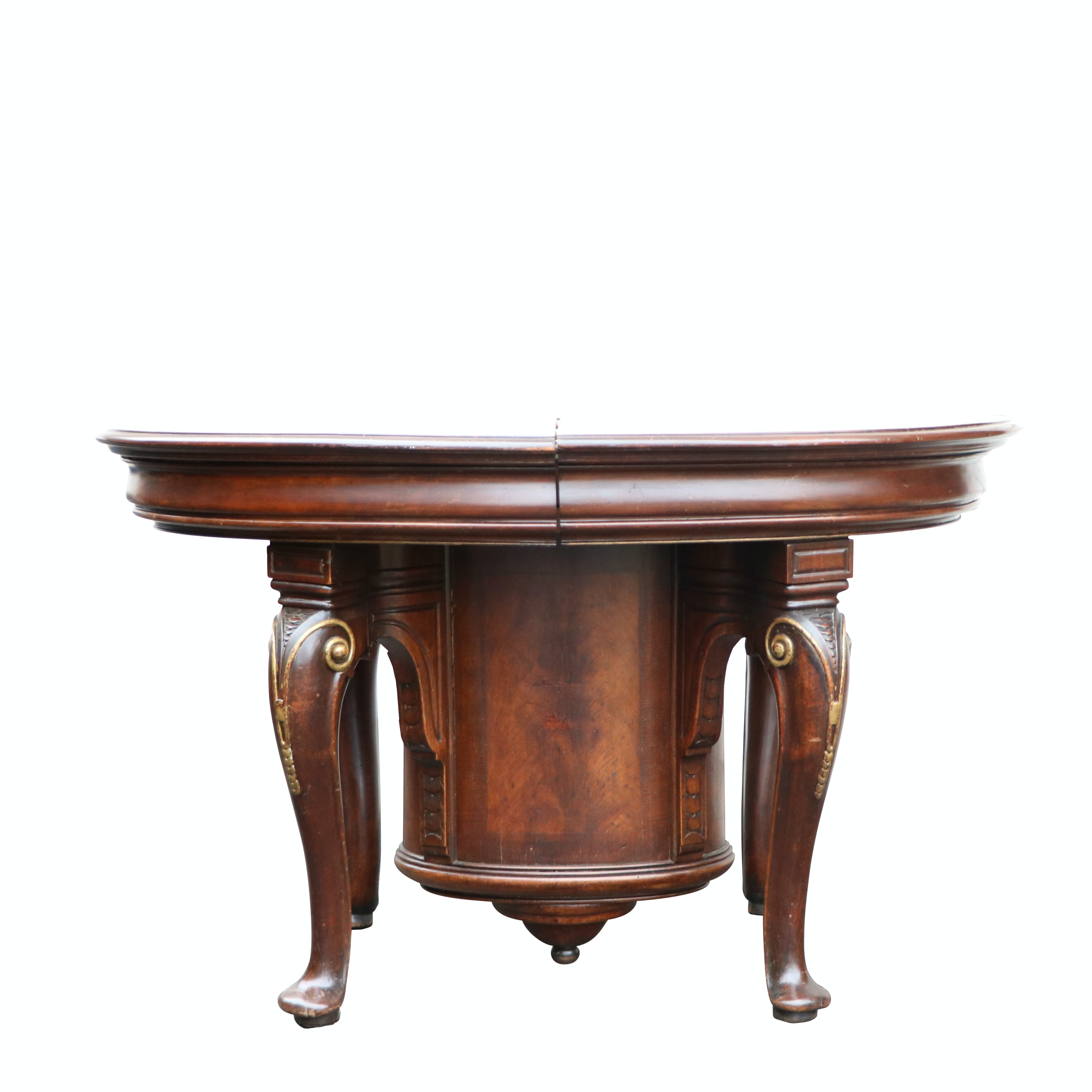 Antique Empire Style Dining Table with Barrel Support