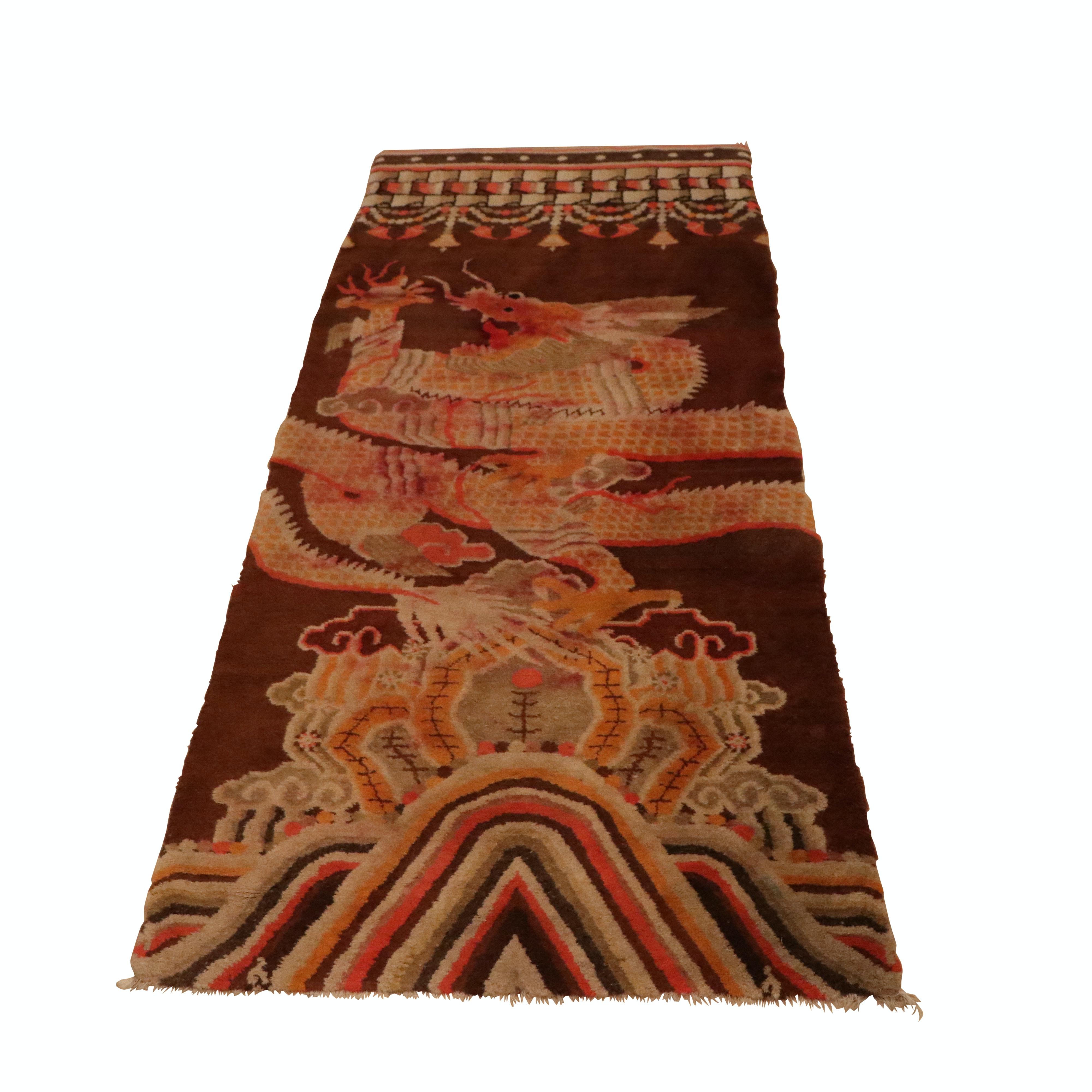 Hand-Knotted Tibetan Dragon Carpet Runner