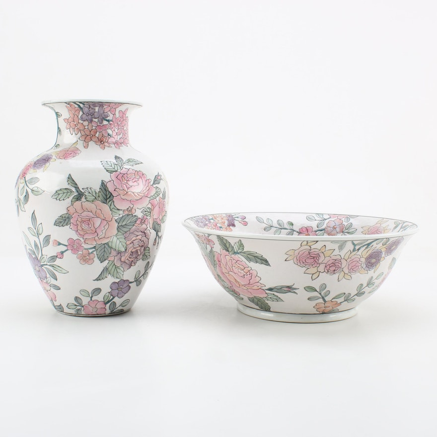Chinese Pink Rose Vase And Bowl Ebth