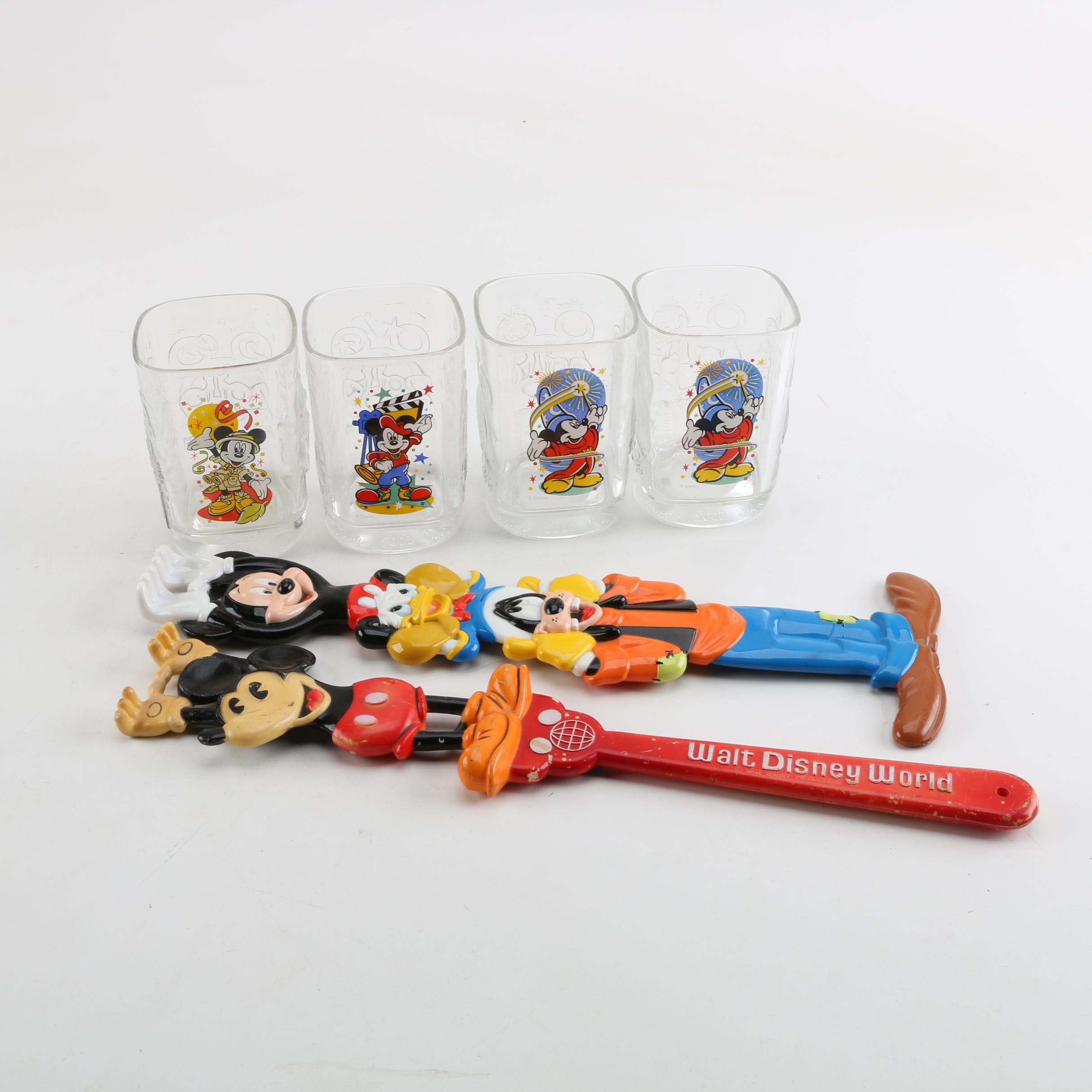 Walt Disney World Backscratchers and McDonalds Drinking Glasses