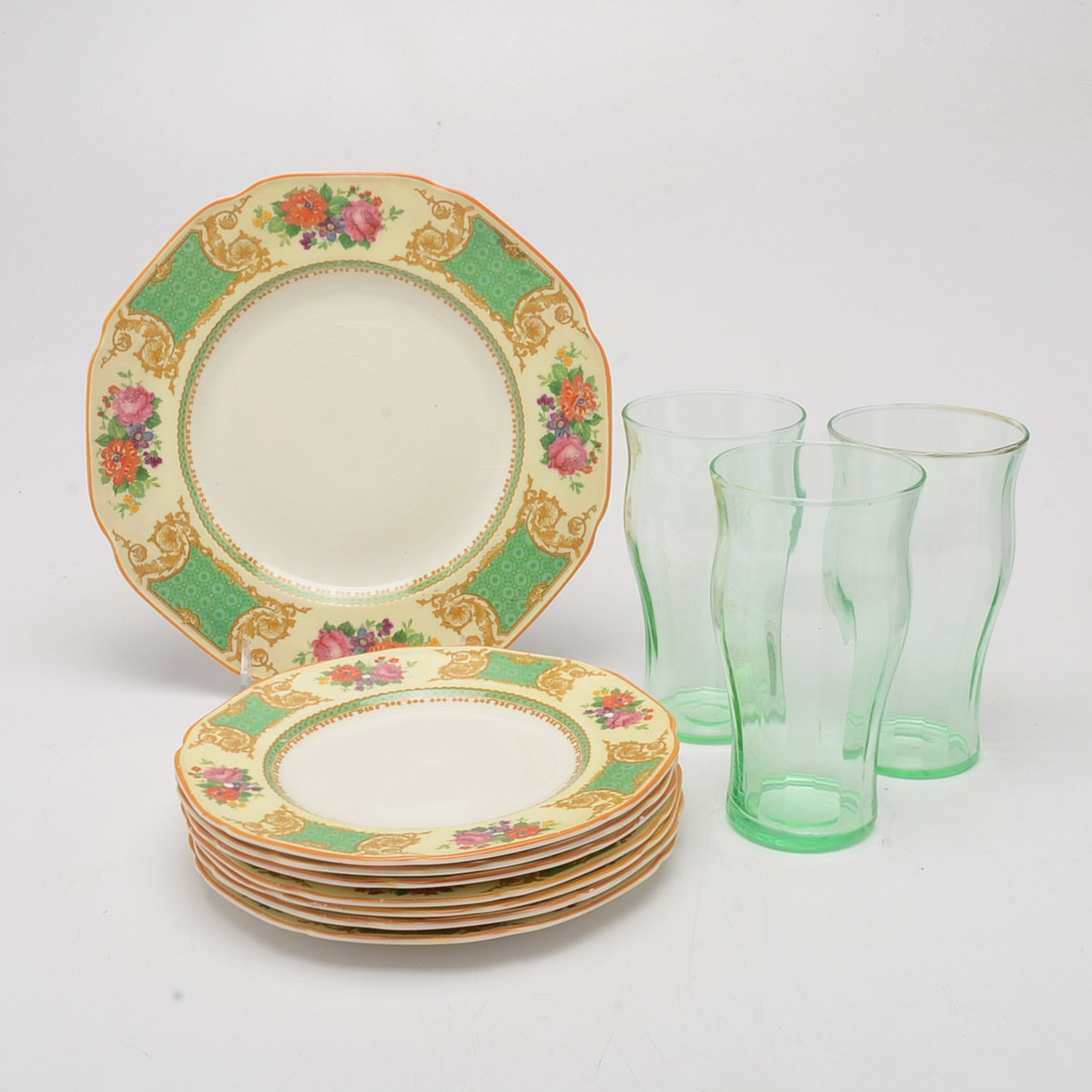 Crown Ducal Ware Plates and Vintage Glasses