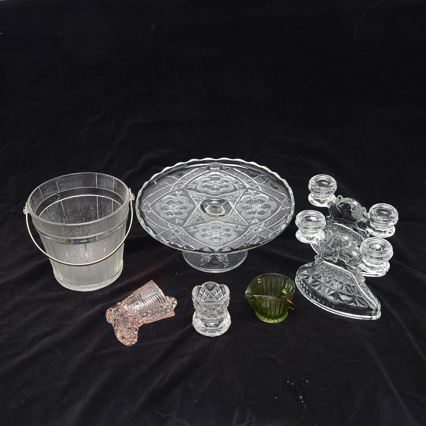 Depression Glass Candlesticks and Vintage Glass Decor