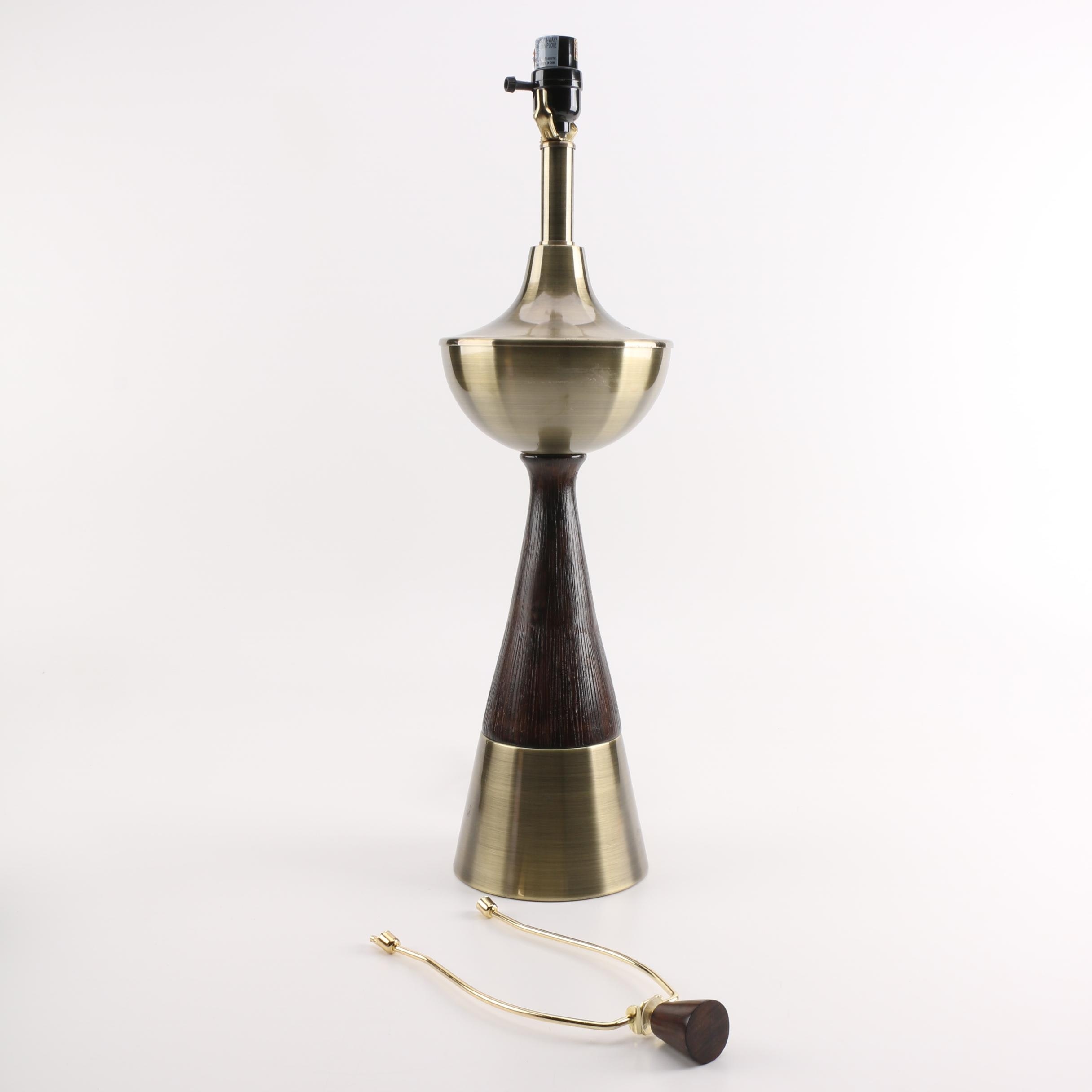 Metal And Wood Inverted Torch Table Lamp Ebth