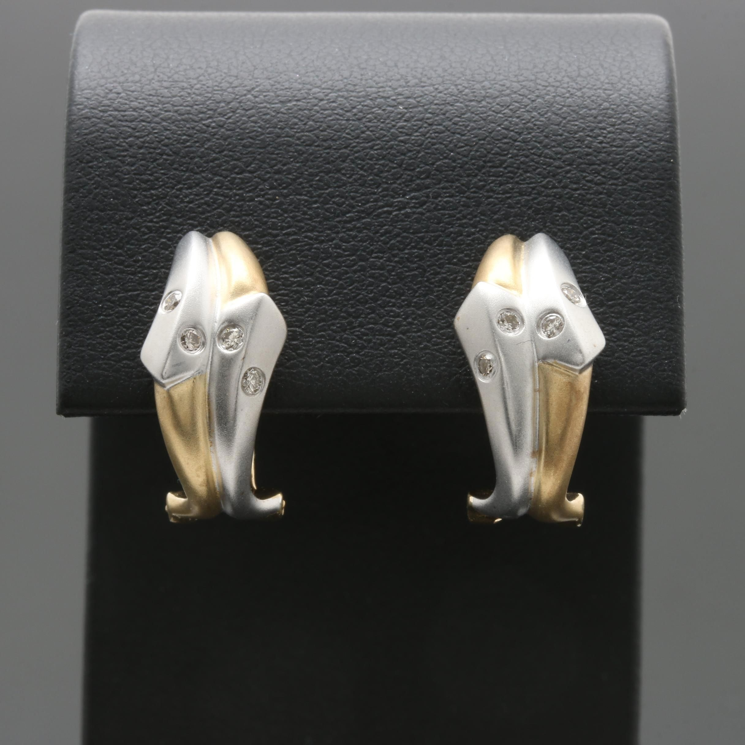 14K Yellow and White Gold Diamond Earrings