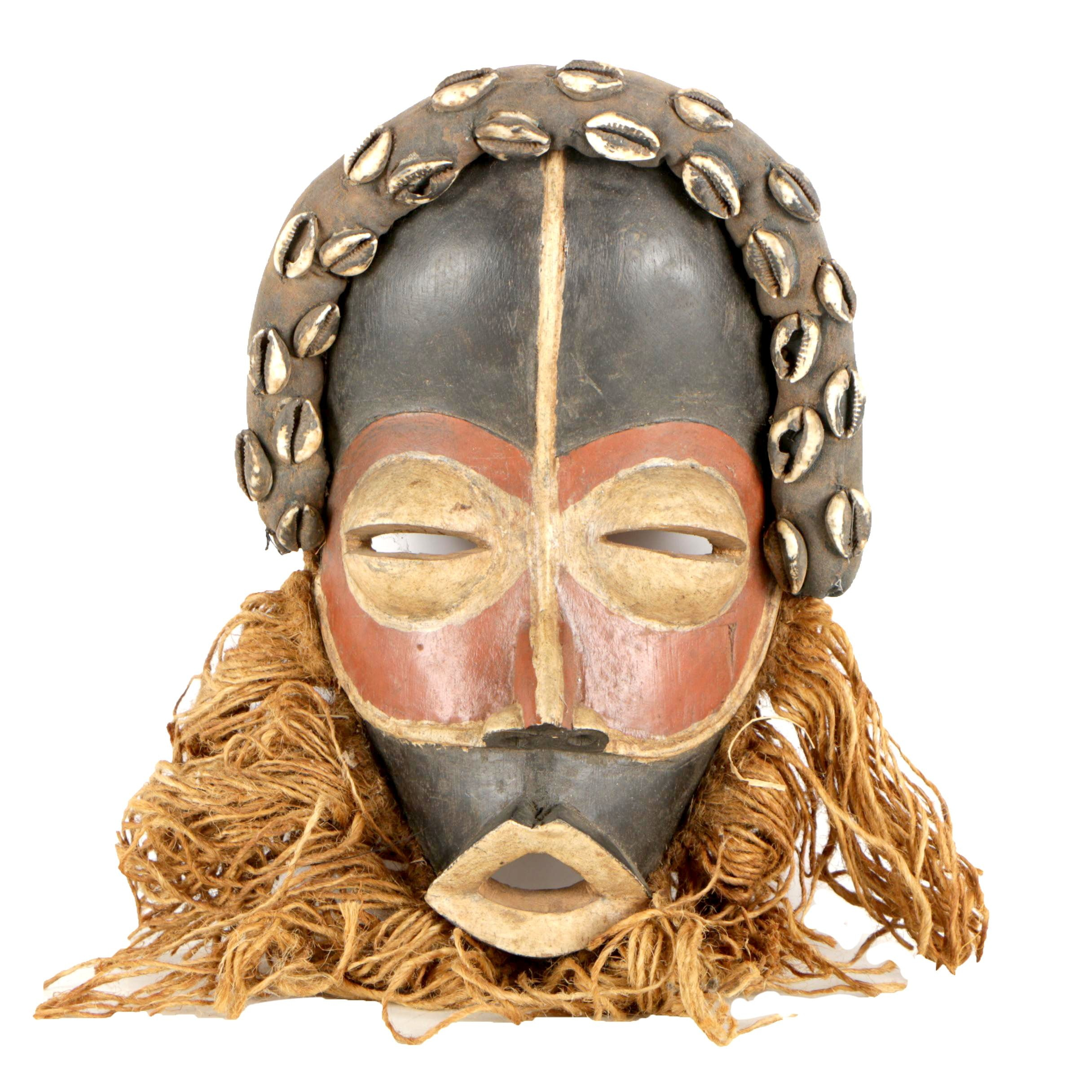 "Côte d'Ivoire Dan ""Go Ge"" Mask with Cowrie Shells and Twine"