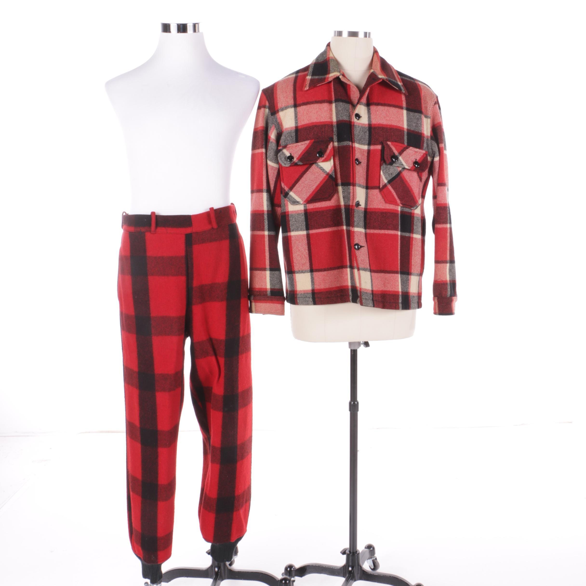 Men's Vintage Wool Plaid Pants and Shirt Including Chippewa