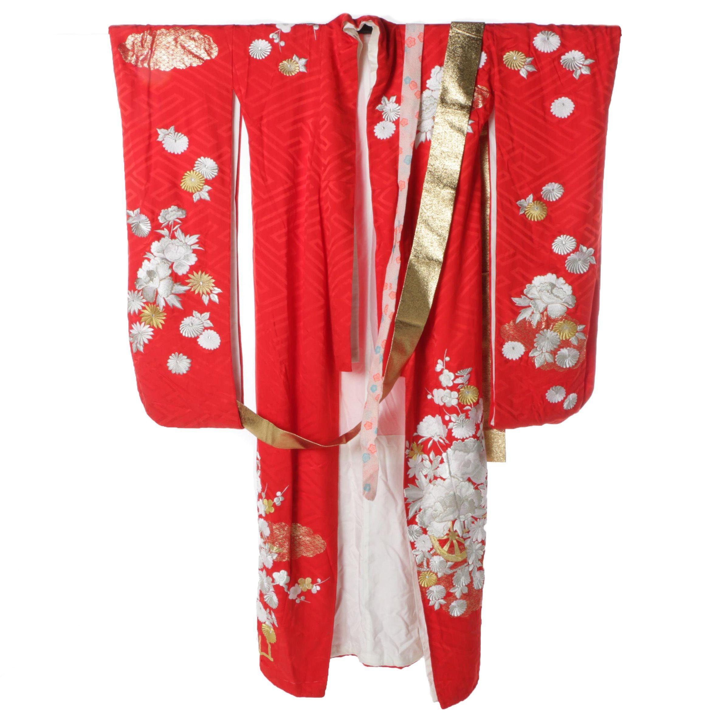 Women's Japanese Embroidered Silk Uchikake Wedding Kimono with Obi