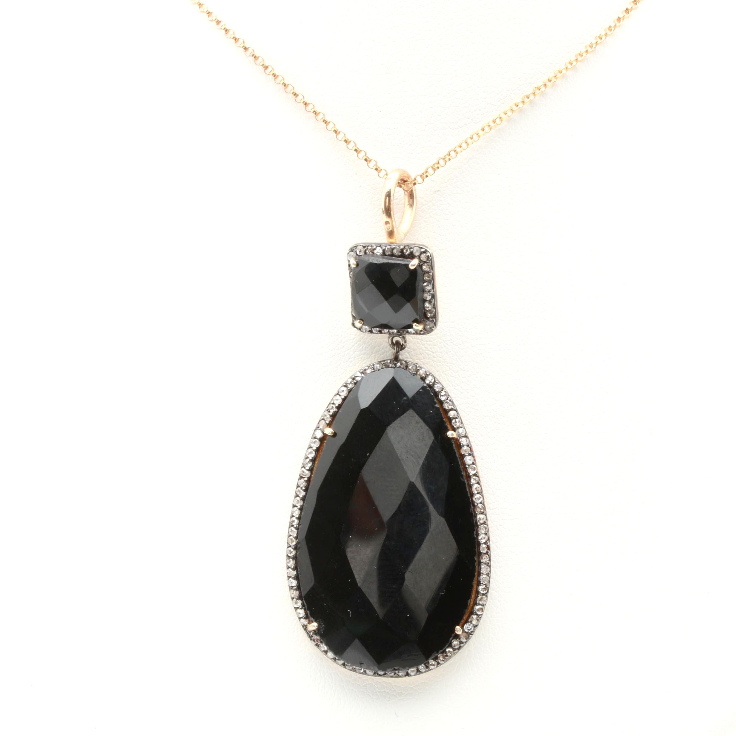 Gold Filled Black Onyx and Diamond Pendant Necklace