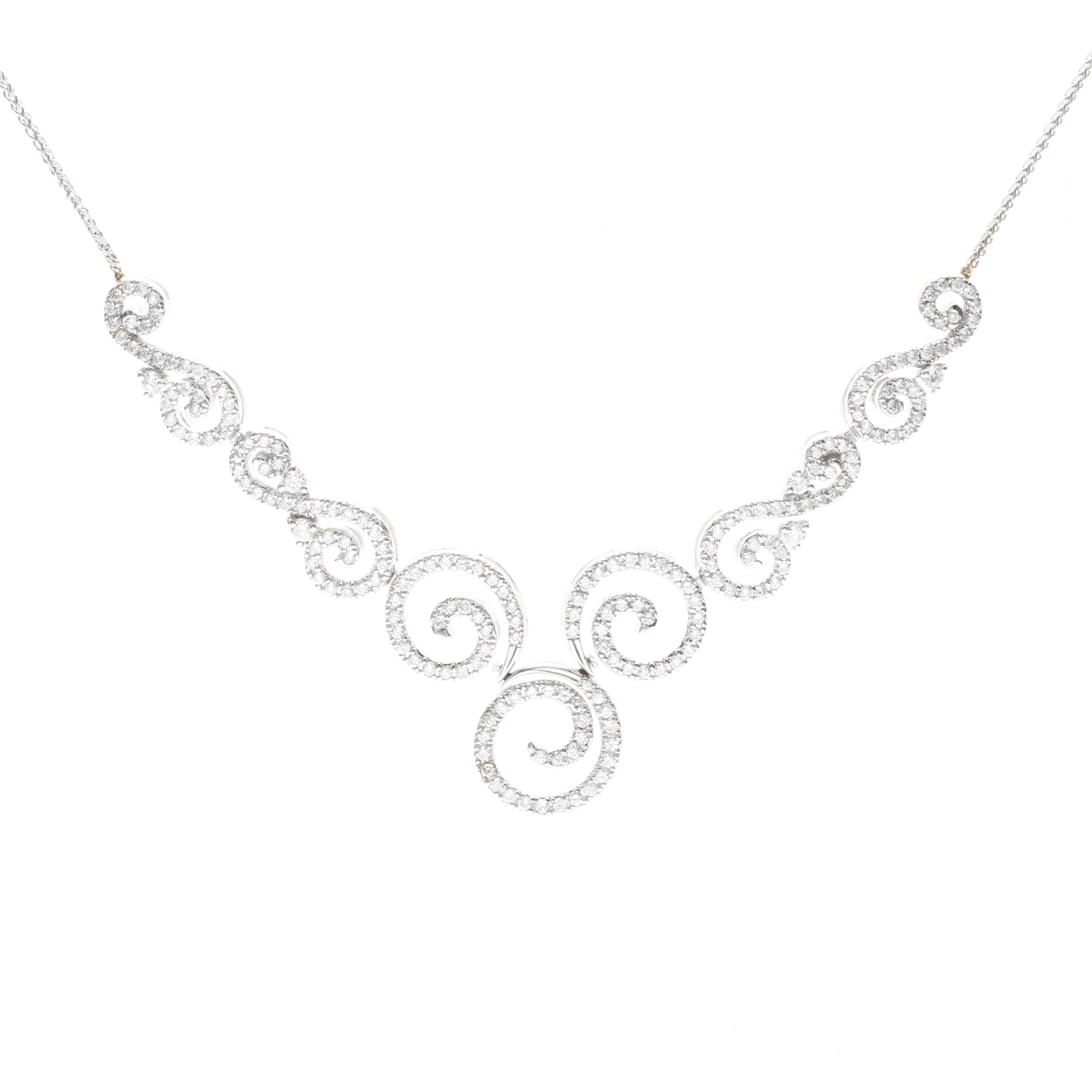 14K White Gold 1.57 CTW Diamond Pendant Necklace