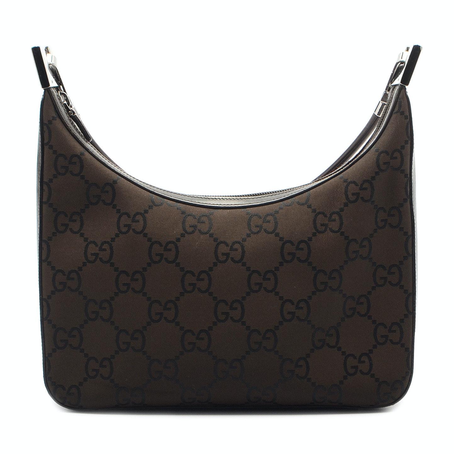 Gucci Brown Canvas and Leather Hobo Handbag