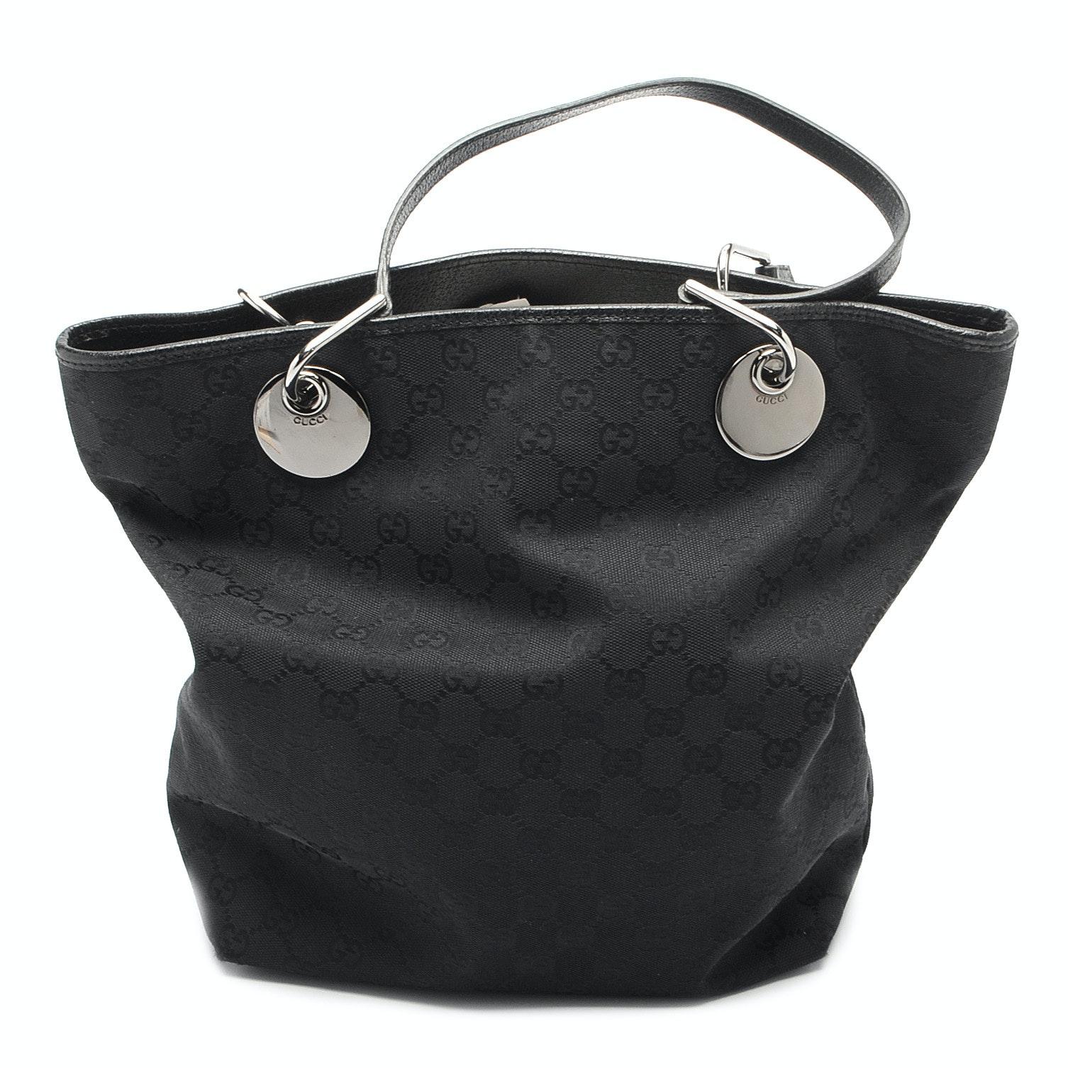 Gucci Black GG Canvas Tote Handbag