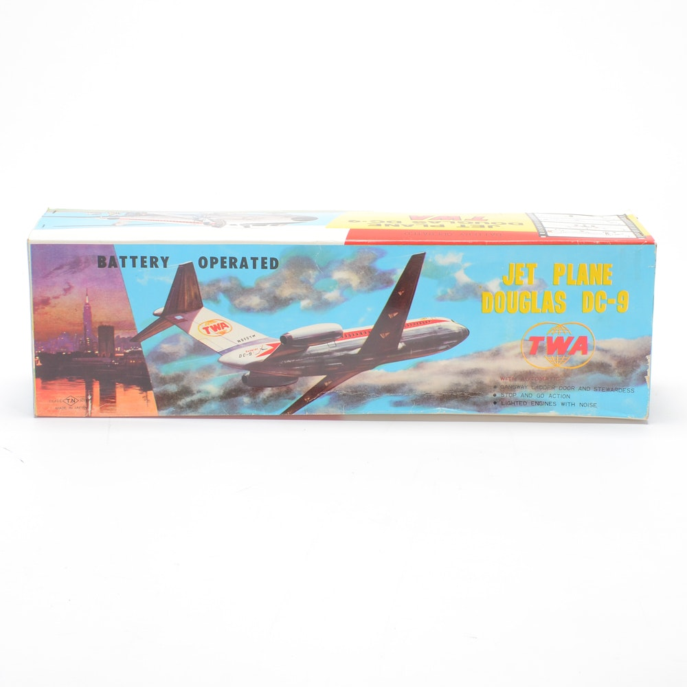Vintage Battery Operated TWA Jet Plane Douglas DC-9