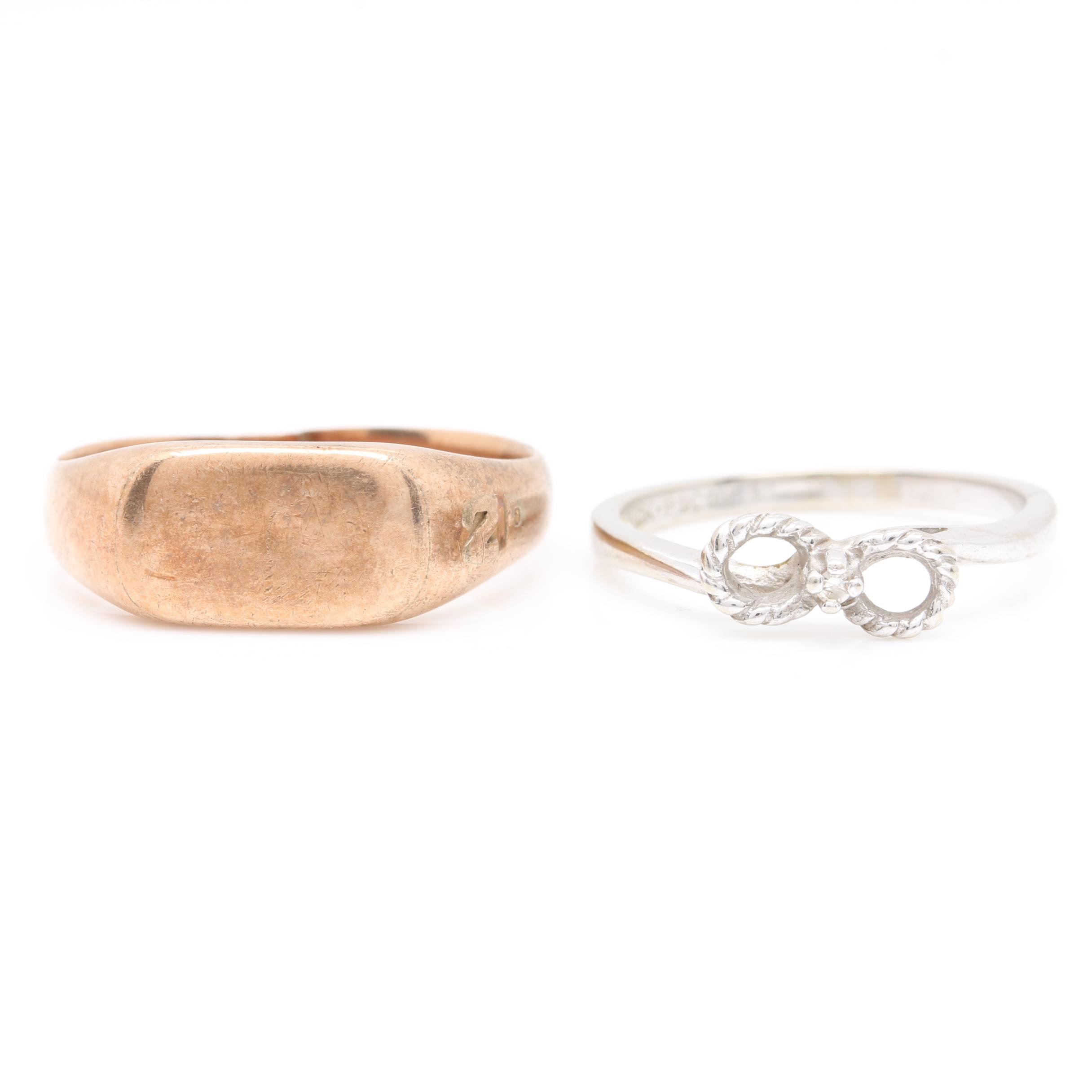 10K Yellow Gold Signet Ring and 10K White Gold Diamond Ring