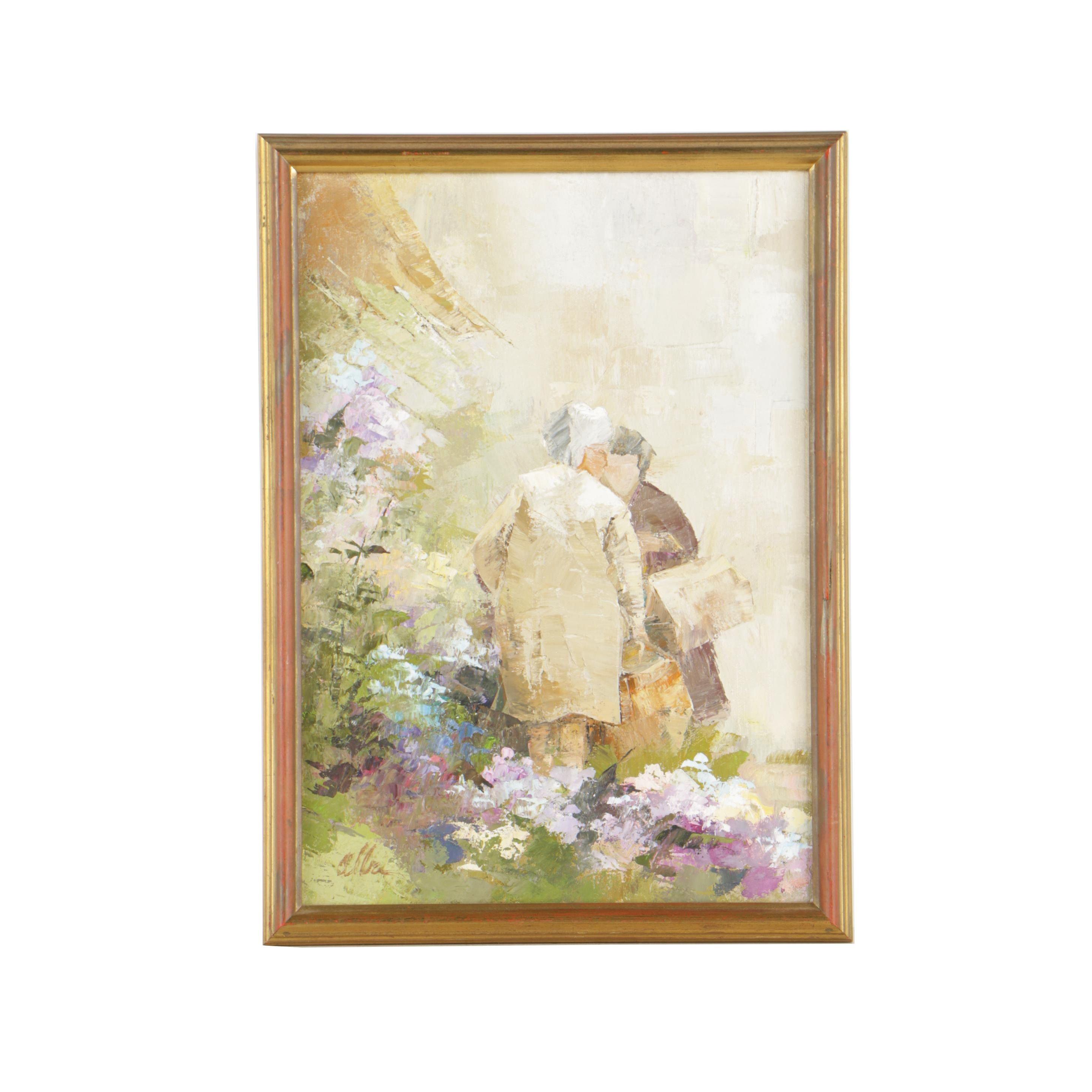 Alba Scott Oil Painting of a Garden Scene