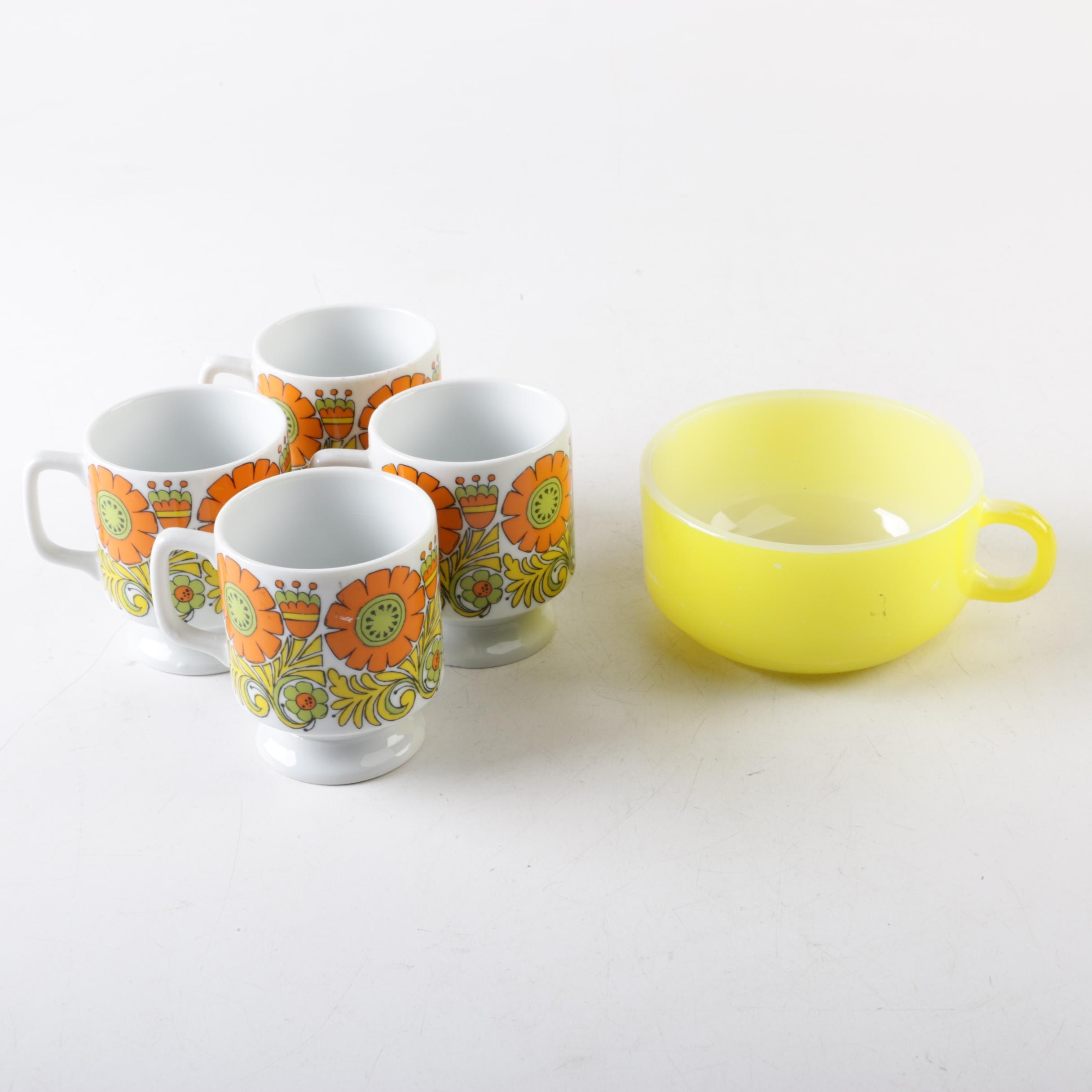 Vintage Tableware Including Floral Mugs and Anchor Hocking Fire King Yellow Bowl