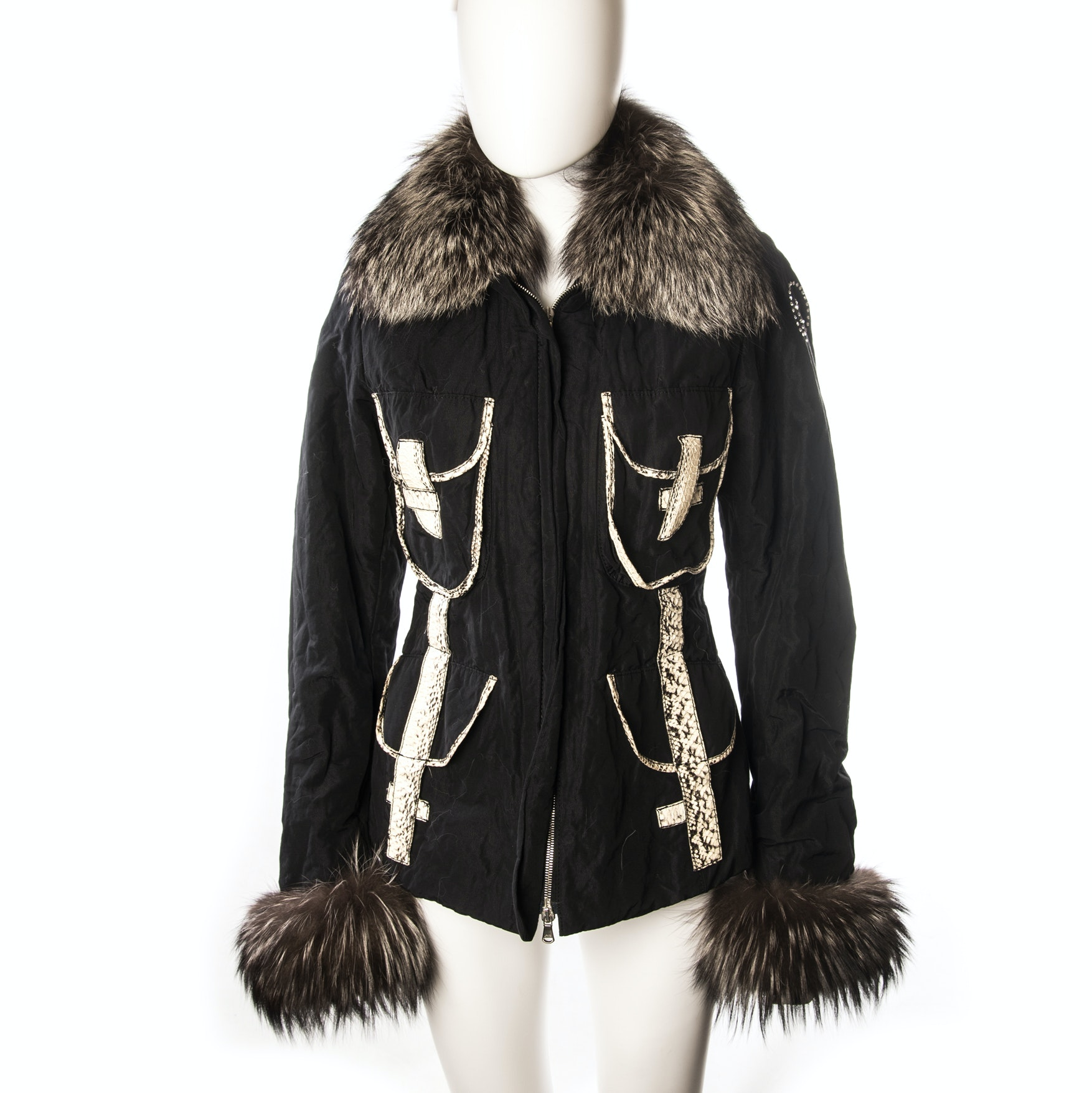 Rossi Raccoon Fur and Snakeskin Printed Leather Accented Jacket