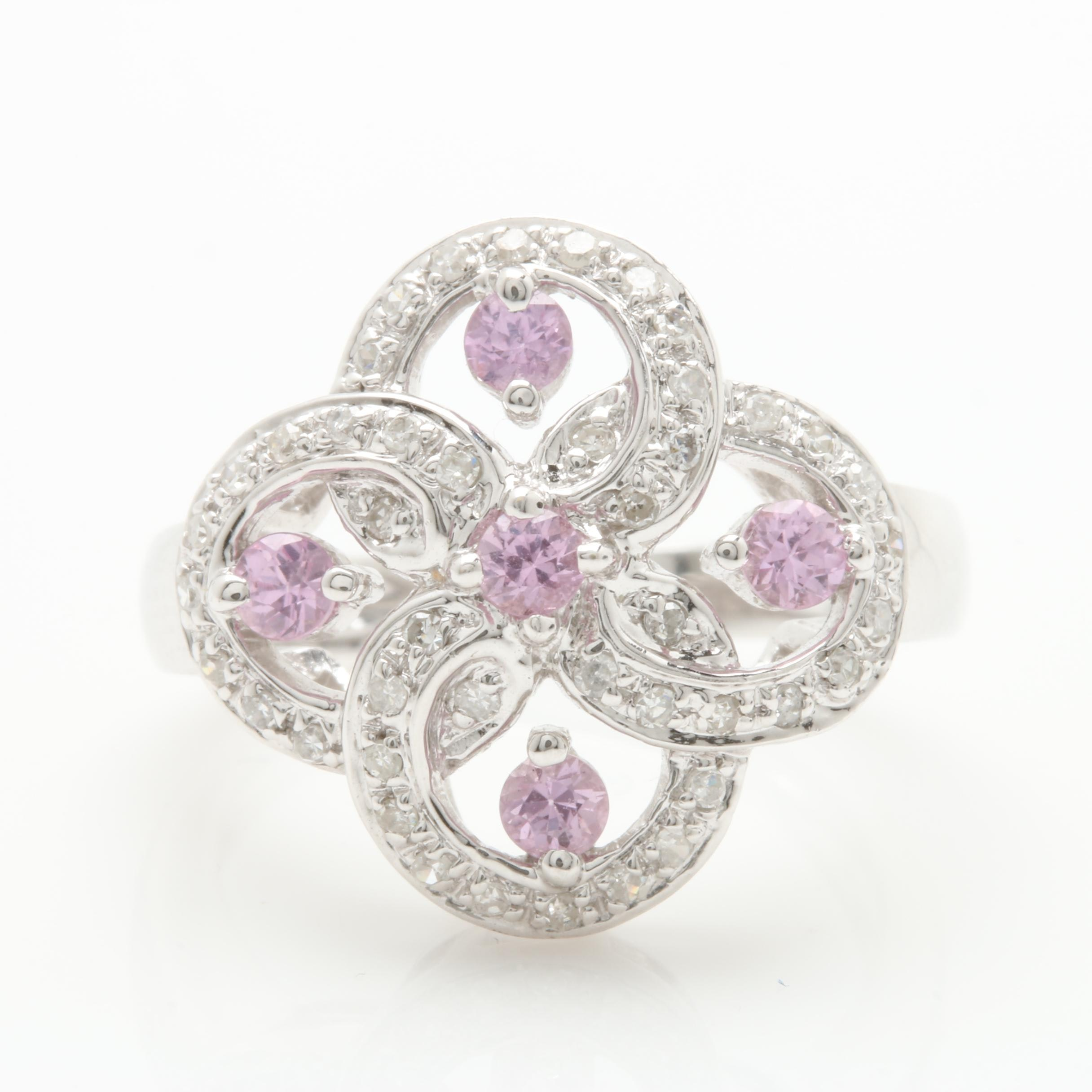 14K White Gold Untreated Pink Sapphire and Diamond Ring