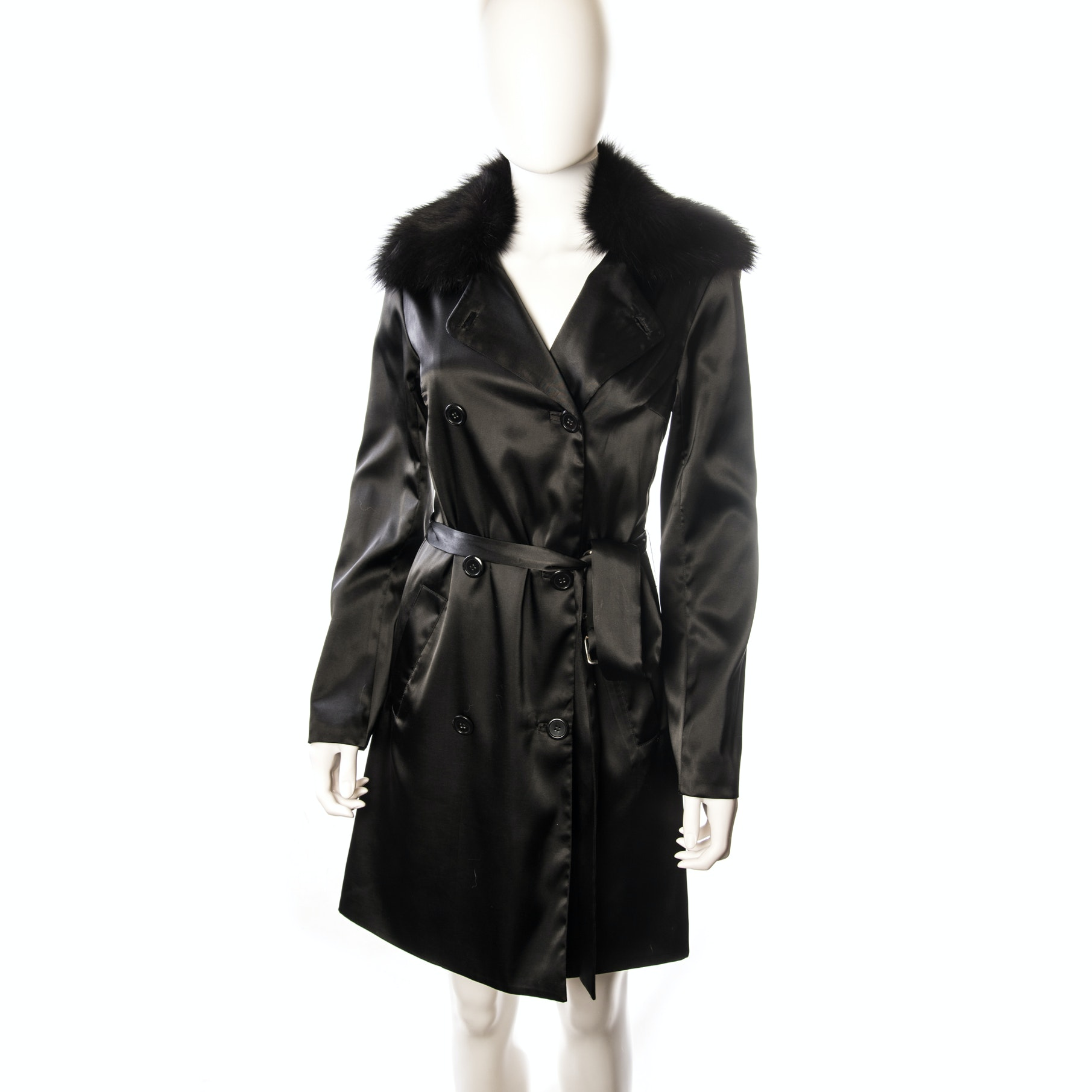 Sheri Bodell Black Satin Trench Coat with Black Fox Fur Collar