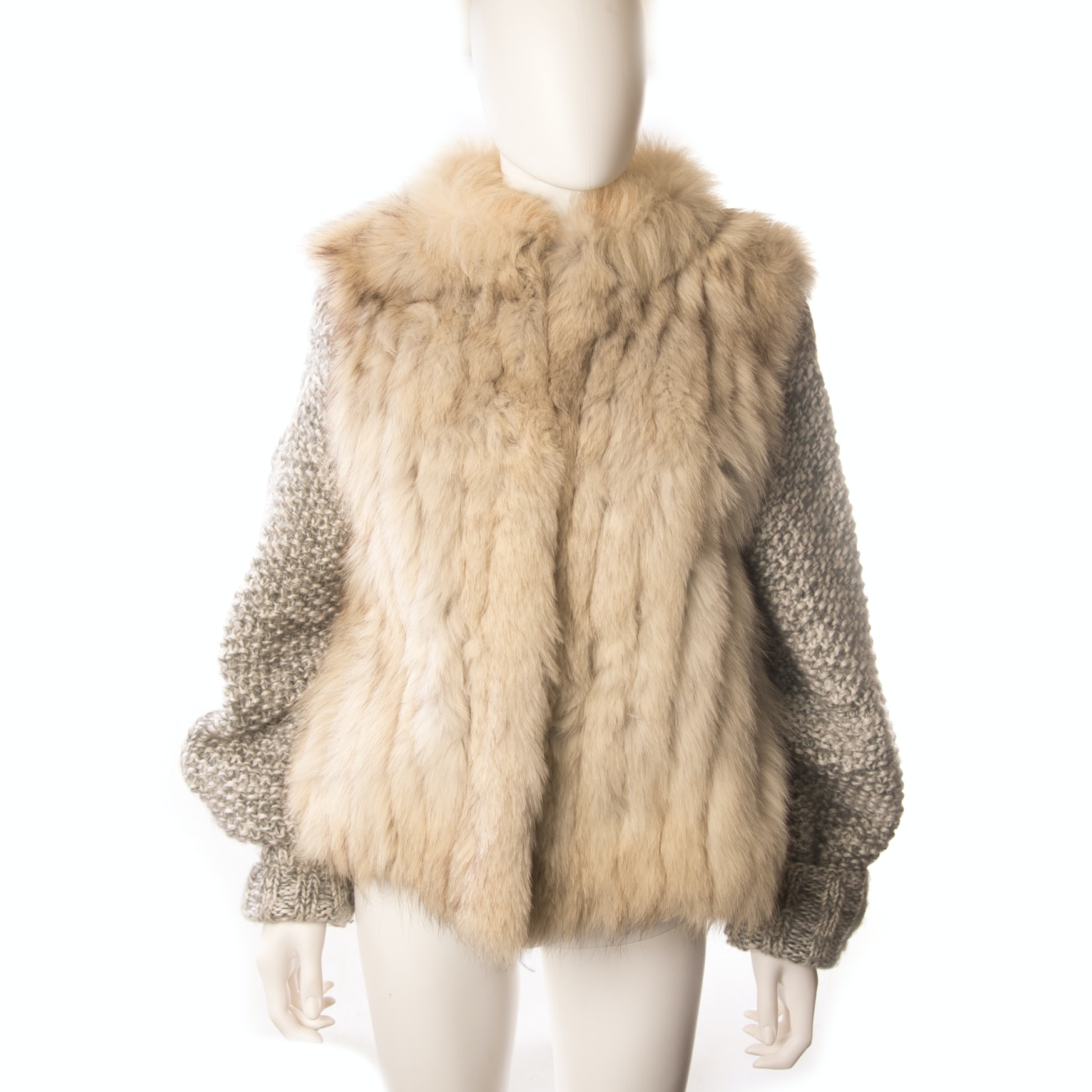 Norwegian Blue Fox Fur Vest with Removable Knit Sleeves