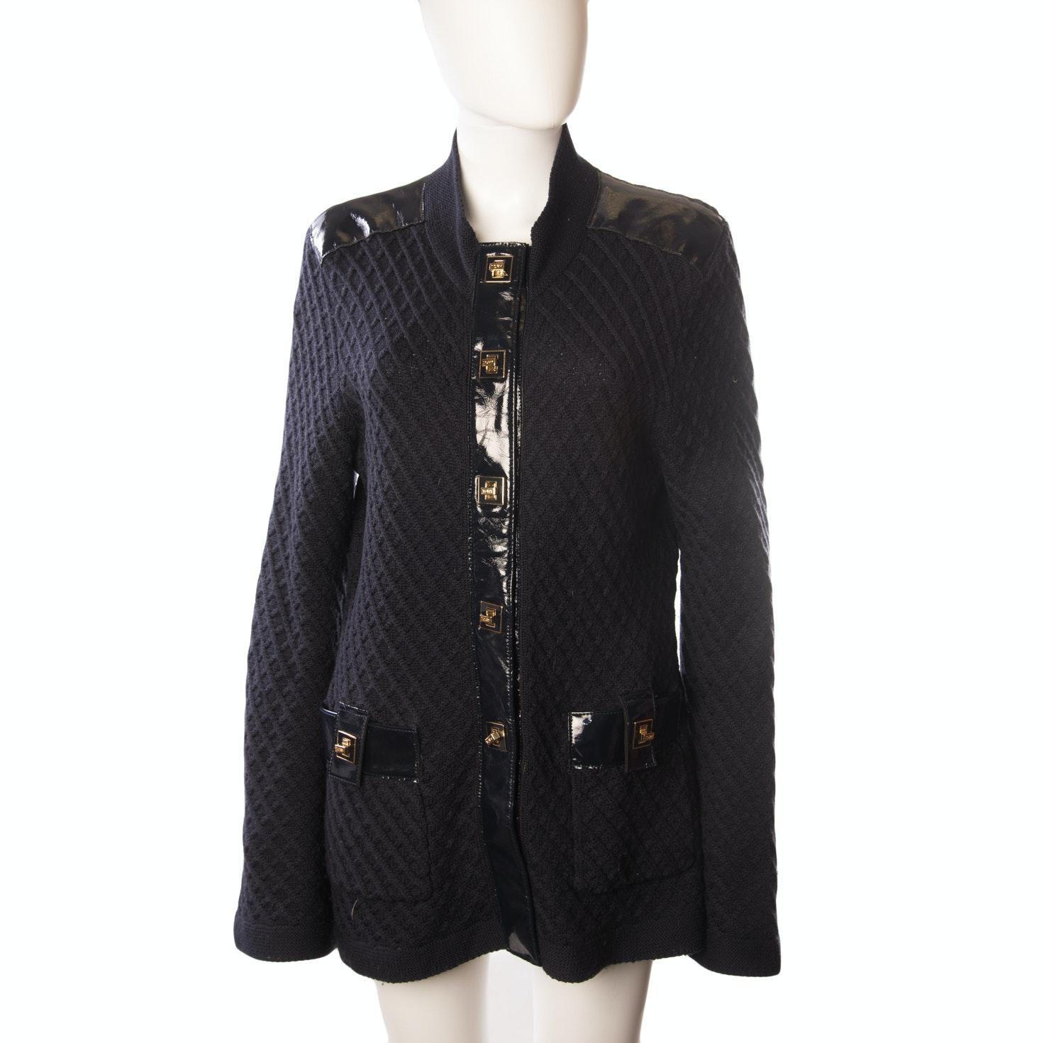 Tory Burch Black Knit Wool Cardigan