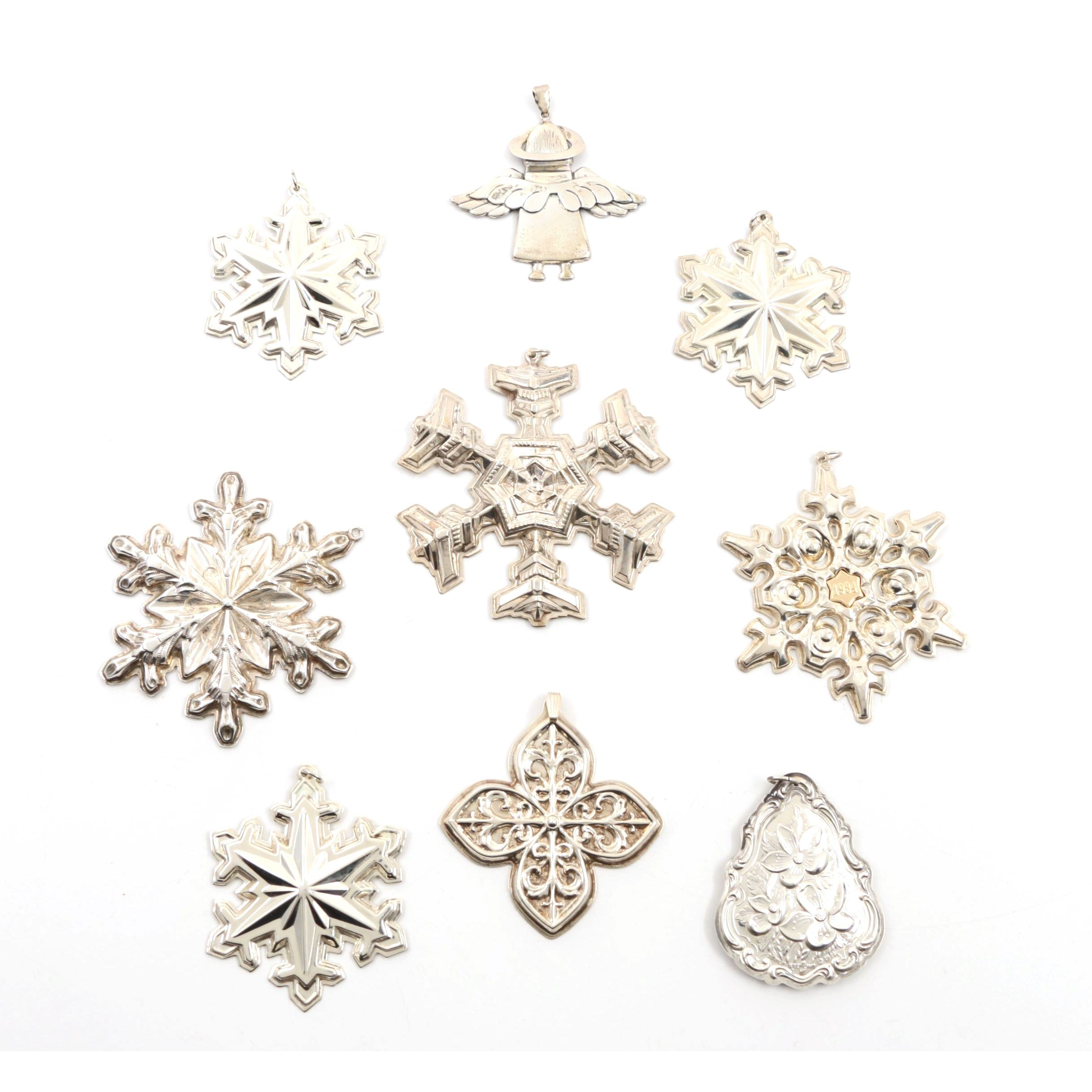 1977 Gorham Sterling Snowflake and Other Sterling Silver Holiday Ornaments