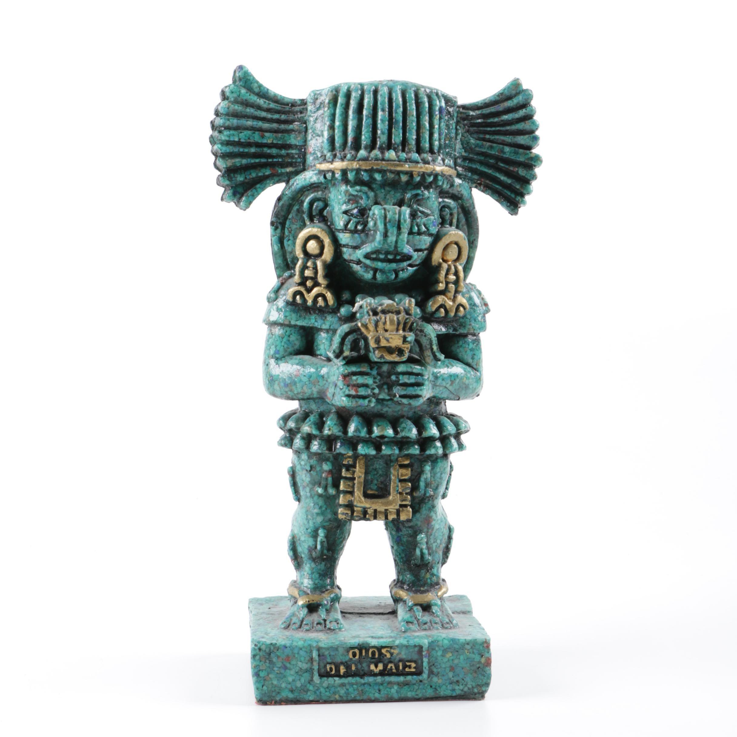 "Mayan Style Resin Reproduction Sculpture ""Dio Del Maiz"""