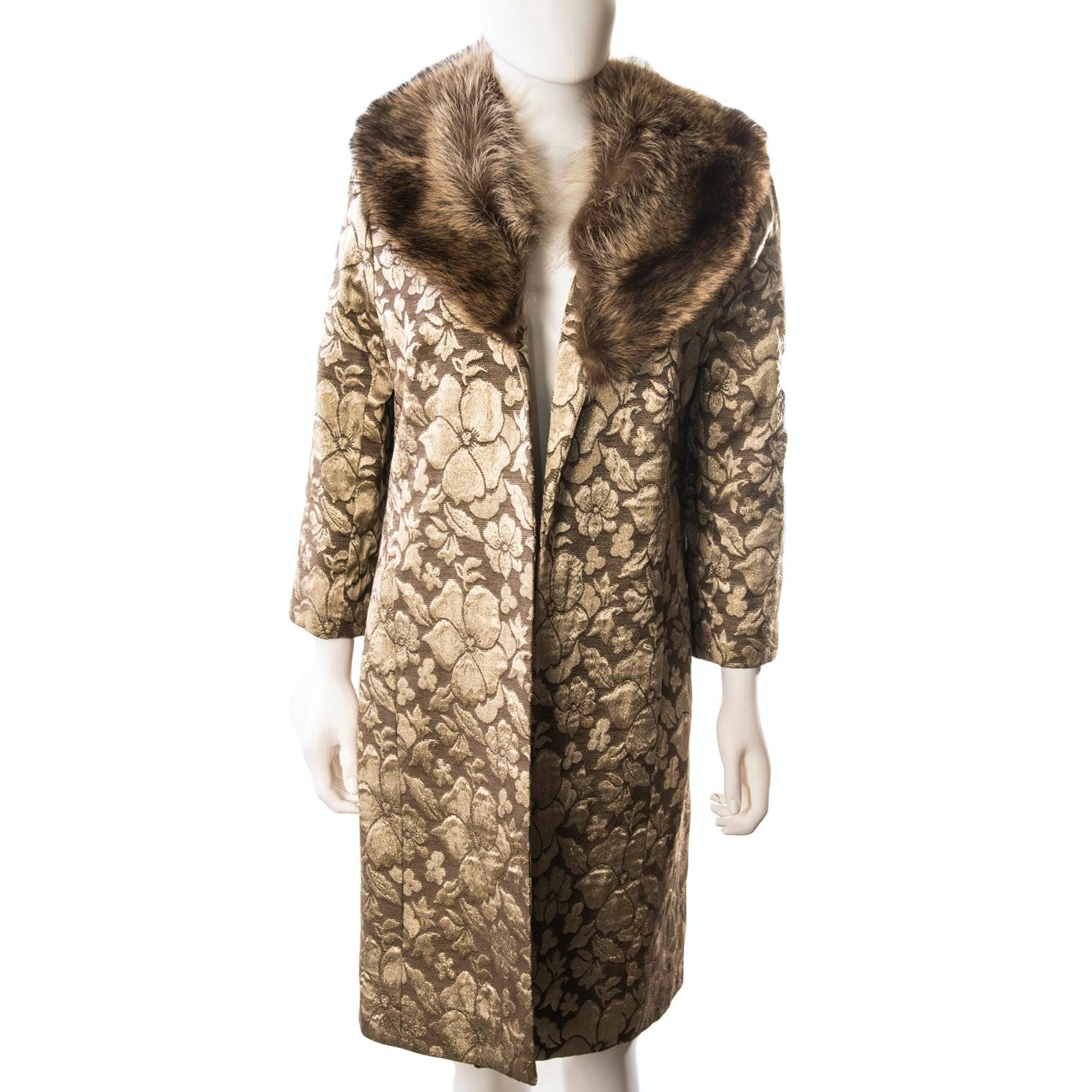 Bloomingdales Brocade Jacket with Raccoon Fur Collar
