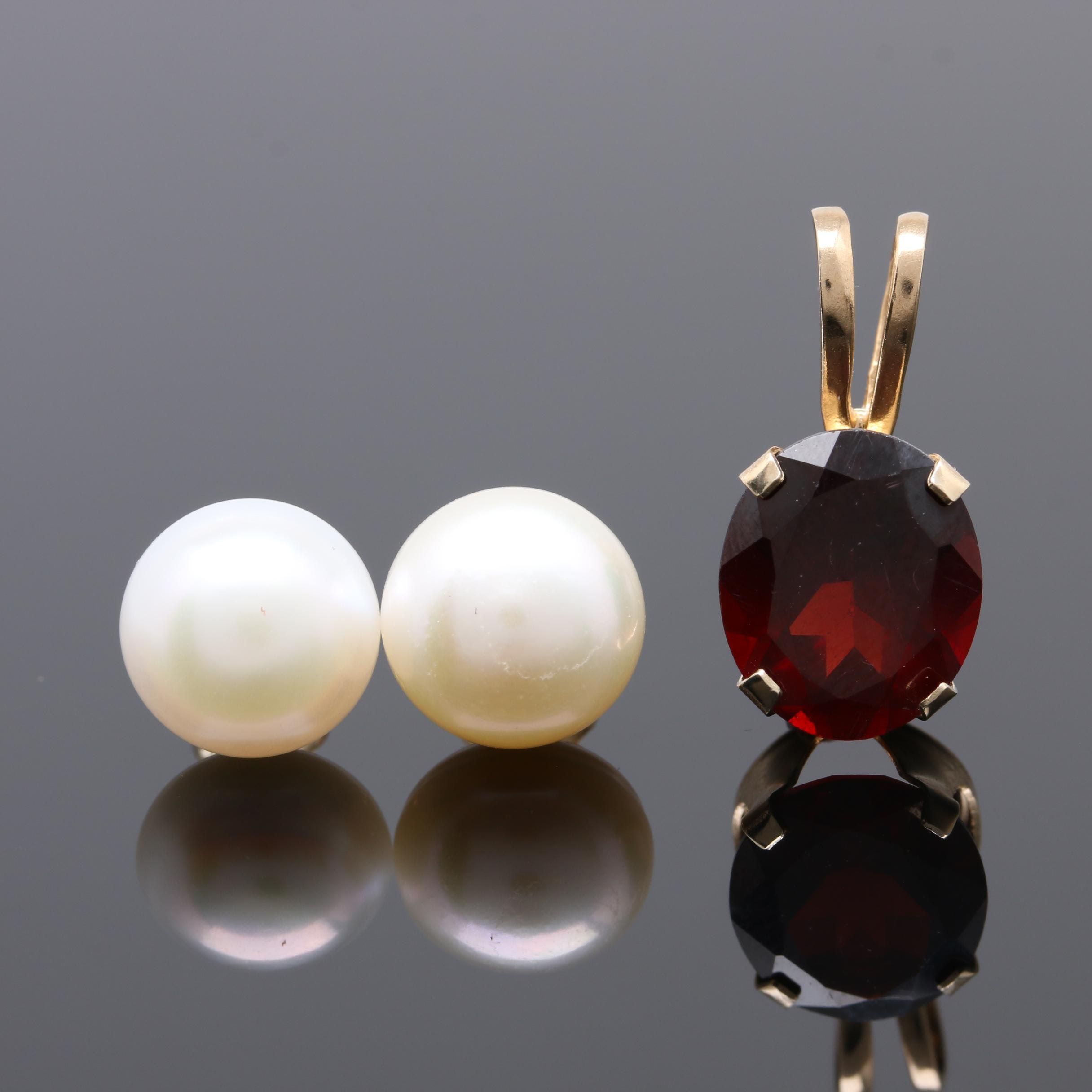 14K Yellow Gold Cultured Pearl Earrings and Garnet Pendant