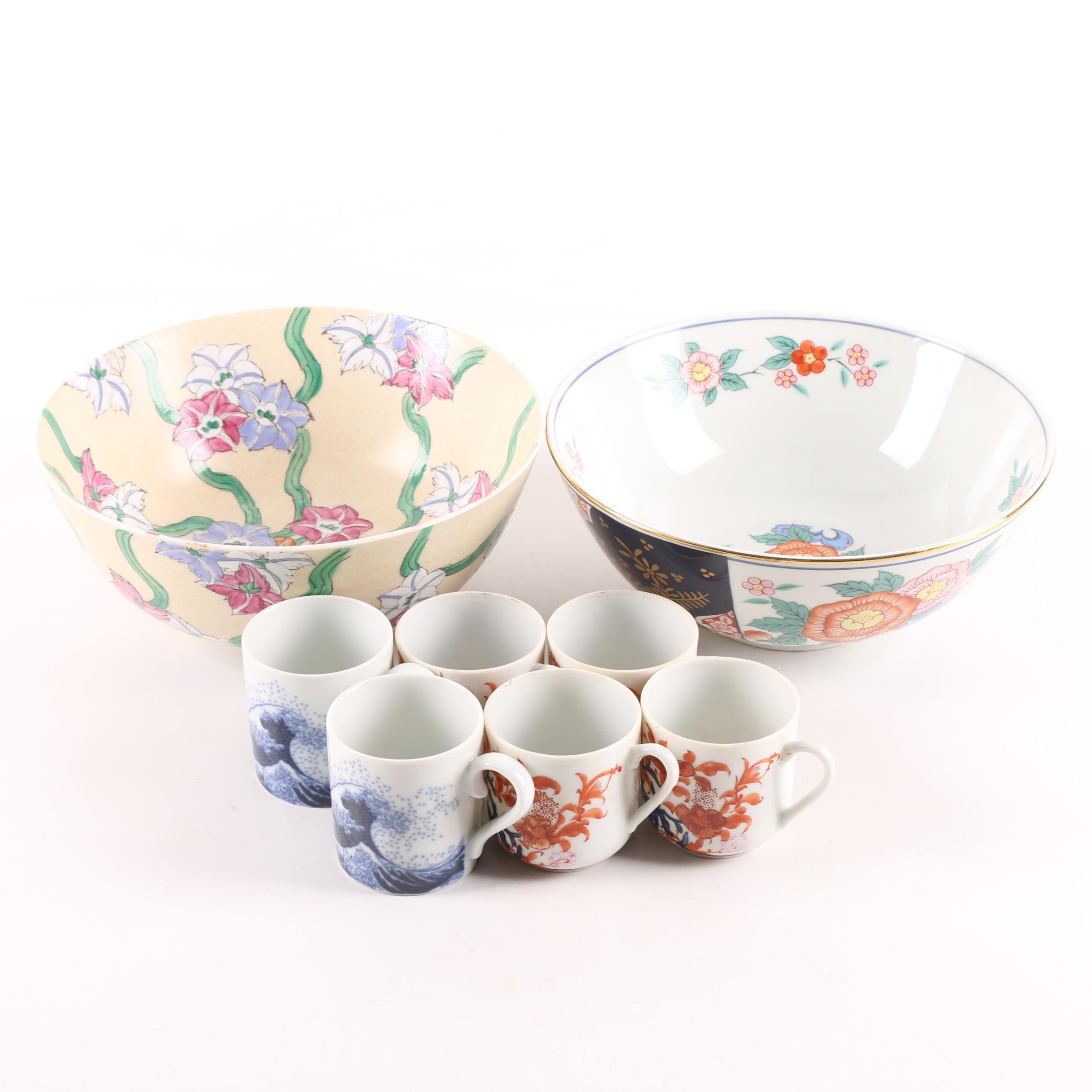 Asian Themed Porcelain Cups and Bowls Including Sigma Taste Setter Japan