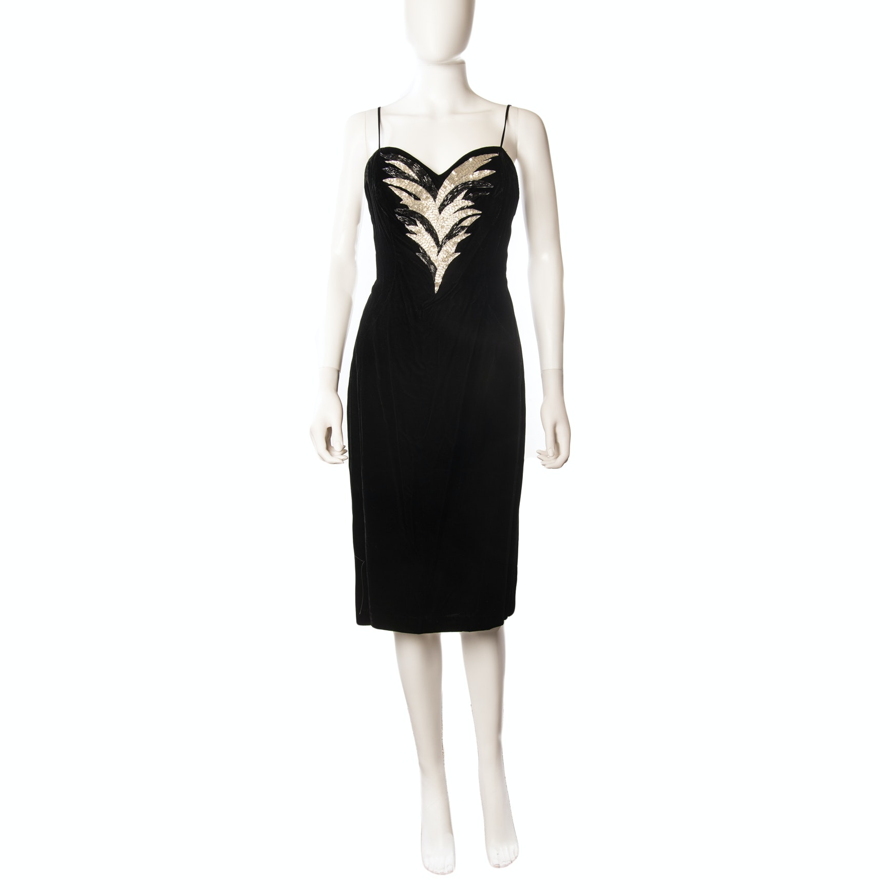 Vintage Rimini Embellished Black Velvet Sleeveless Cocktail Dress
